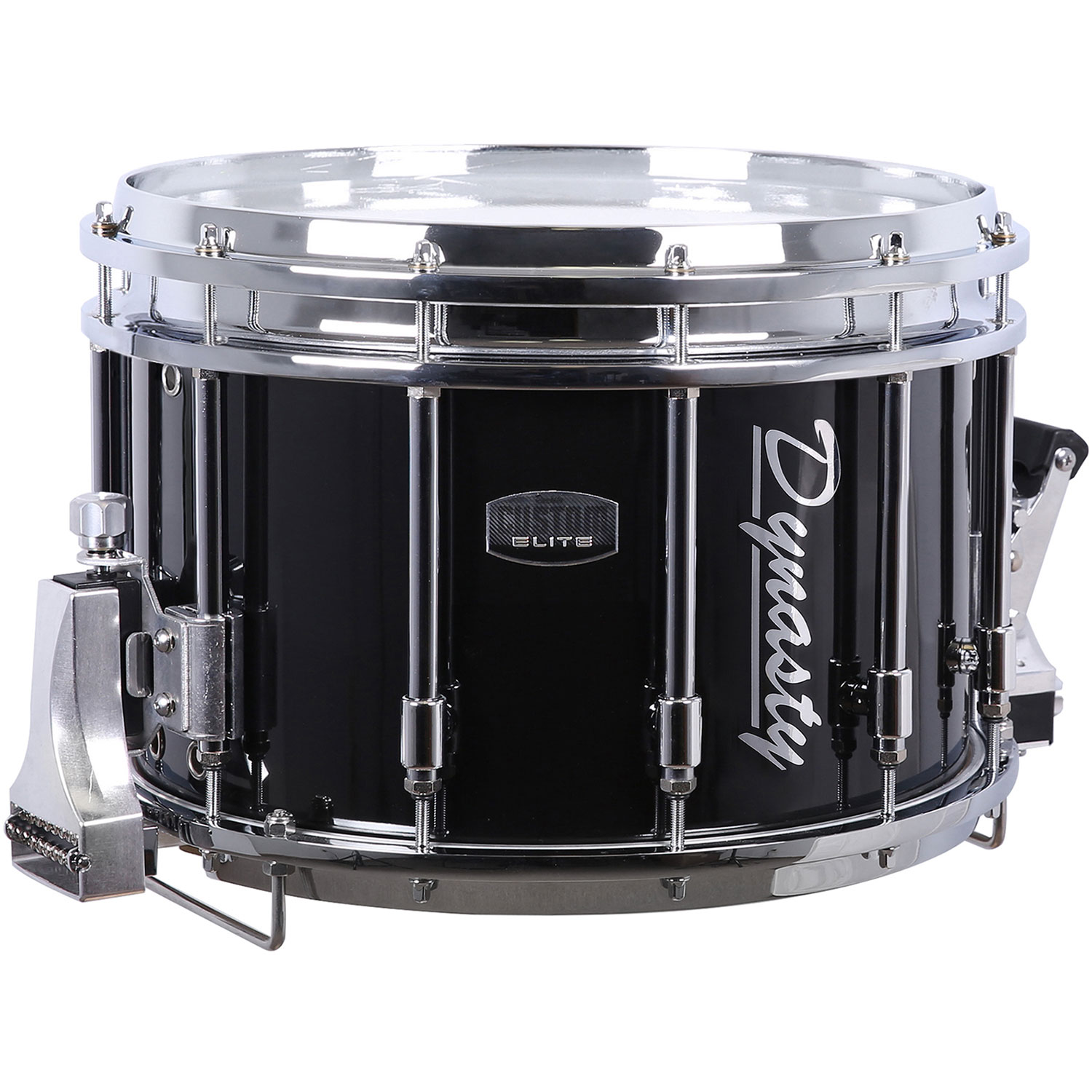 """Dynasty 14"""" x 10"""" DFS Shorty Marching Snare Drum with Chrome Hardware in Black"""