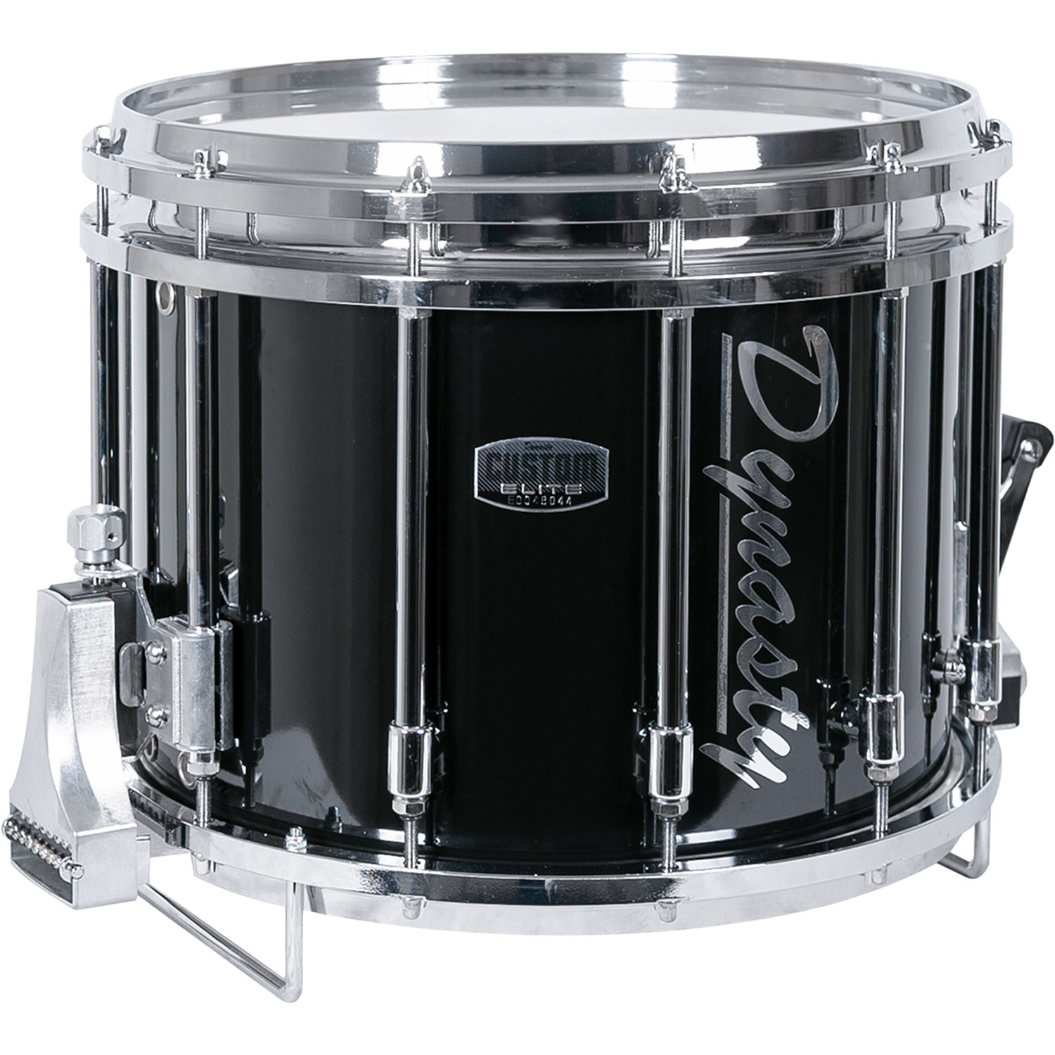 """Dynasty 14"""" x 12"""" DFZ Custom Elite Marching Snare Drum with Chrome Hardware in Black"""