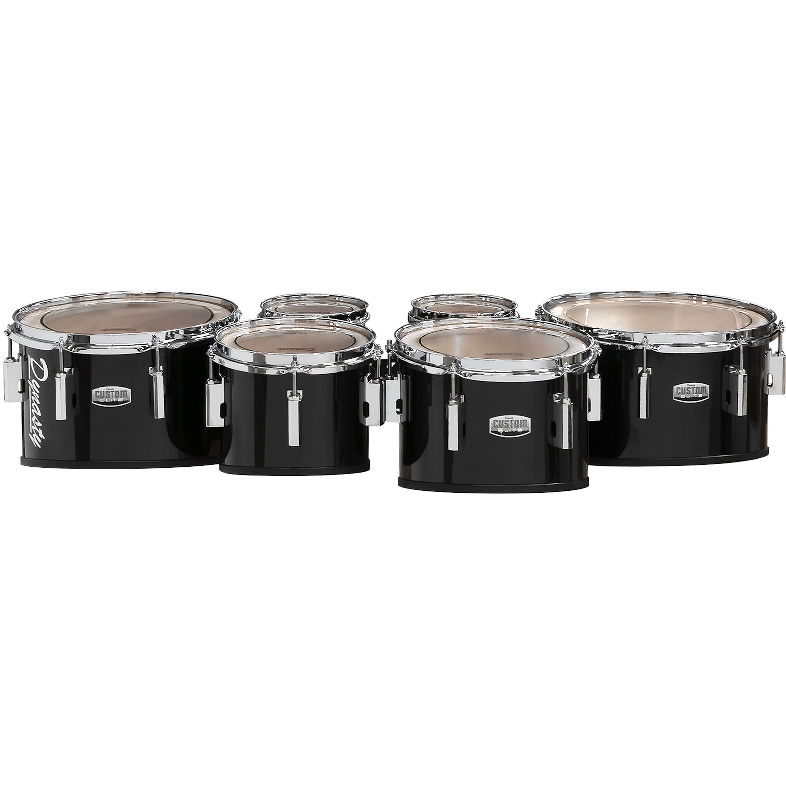 """Dynasty 6-6-8-10-12-14"""" Custom Elite Marching Tenors with Chrome Hardware in Black"""