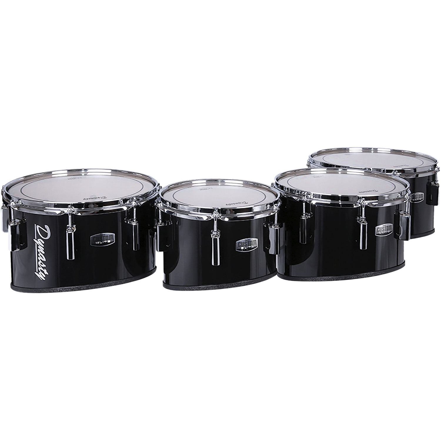 """Dynasty 10-12-13-14"""" Custom Elite Marching Tenors with Chrome Hardware in Black"""