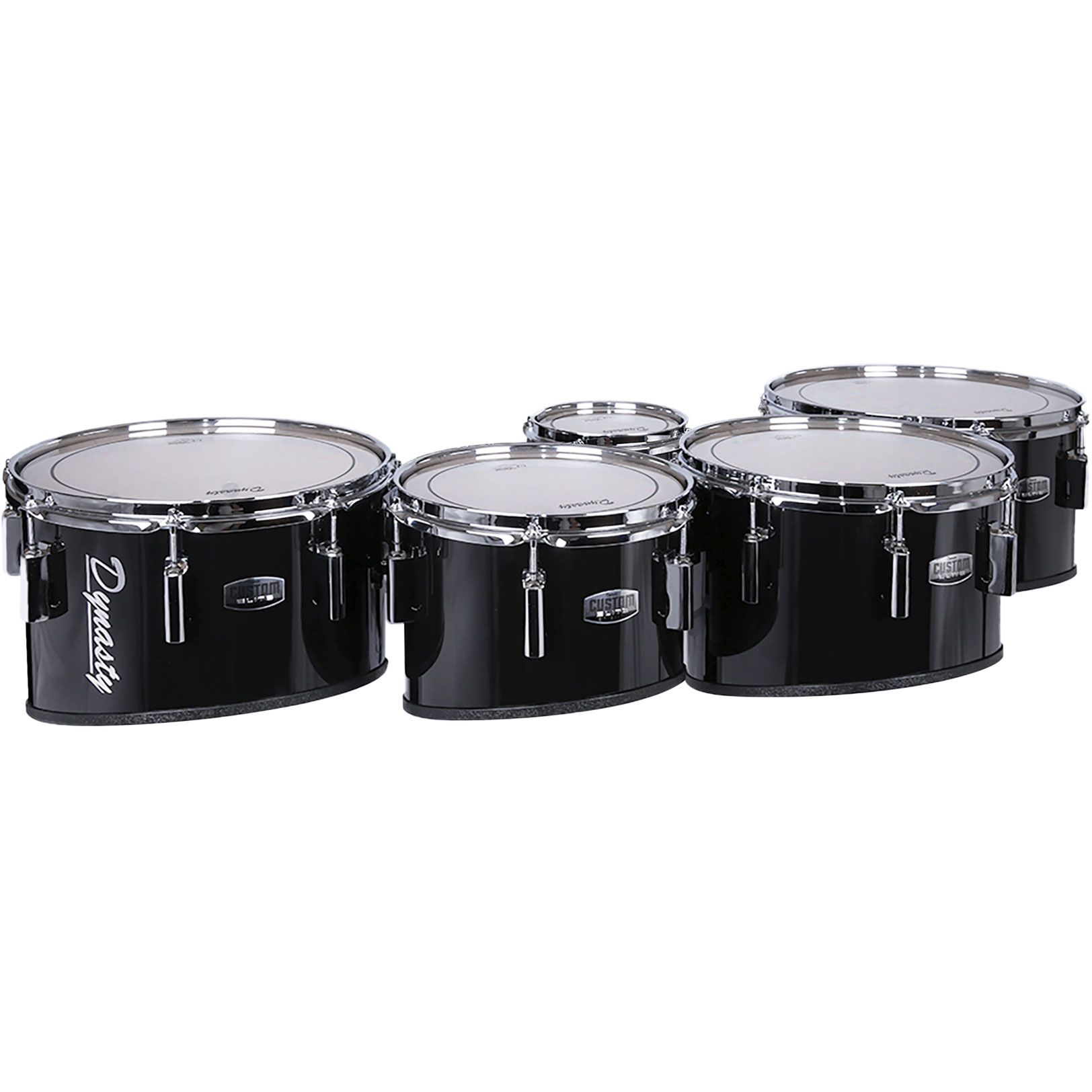 """Dynasty 6-10-12-13-14"""" Custom Elite Marching Tenors with Chrome Hardware in Black"""