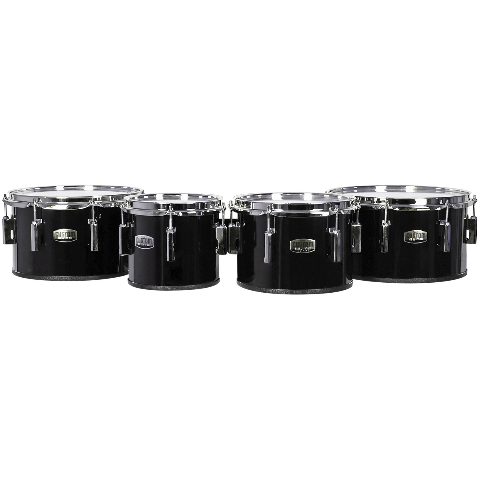 """Dynasty 6-8-10-12"""" Custom Elite Marching Tenors with Chrome Hardware in Black"""