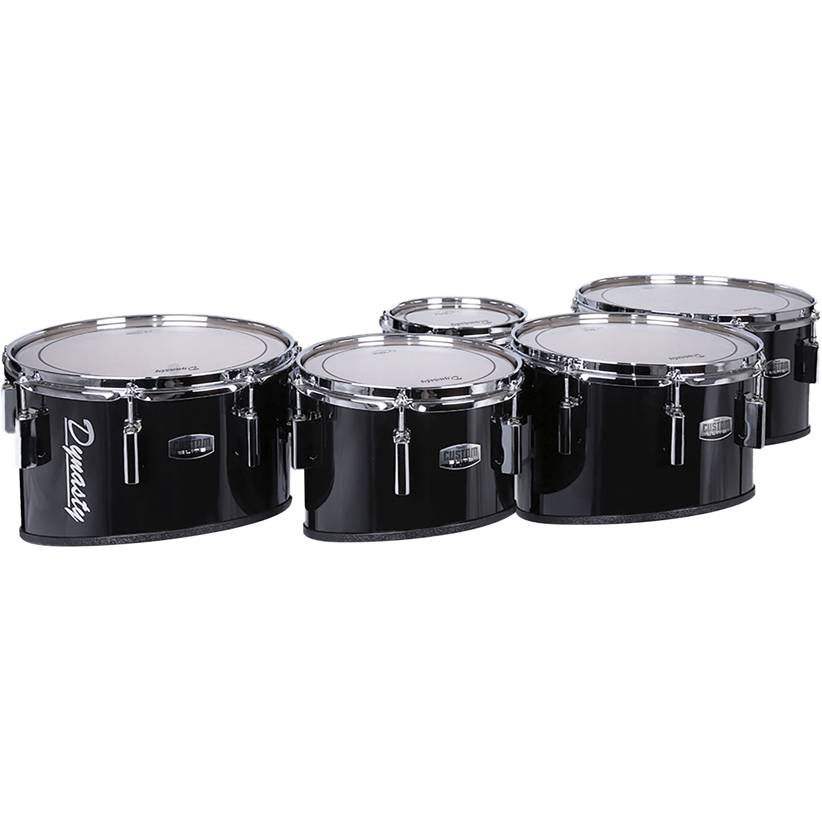 """Dynasty 8-10-12-13-14"""" Custom Elite Marching Tenors with Chrome Hardware in Black"""