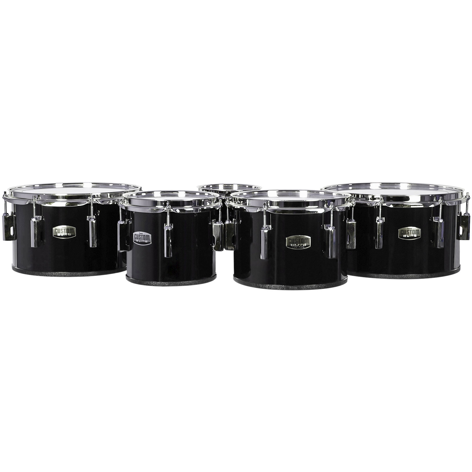 """Dynasty 8-10-12-13"""" Custom Elite Marching Tenors with Chrome Hardware in Black"""