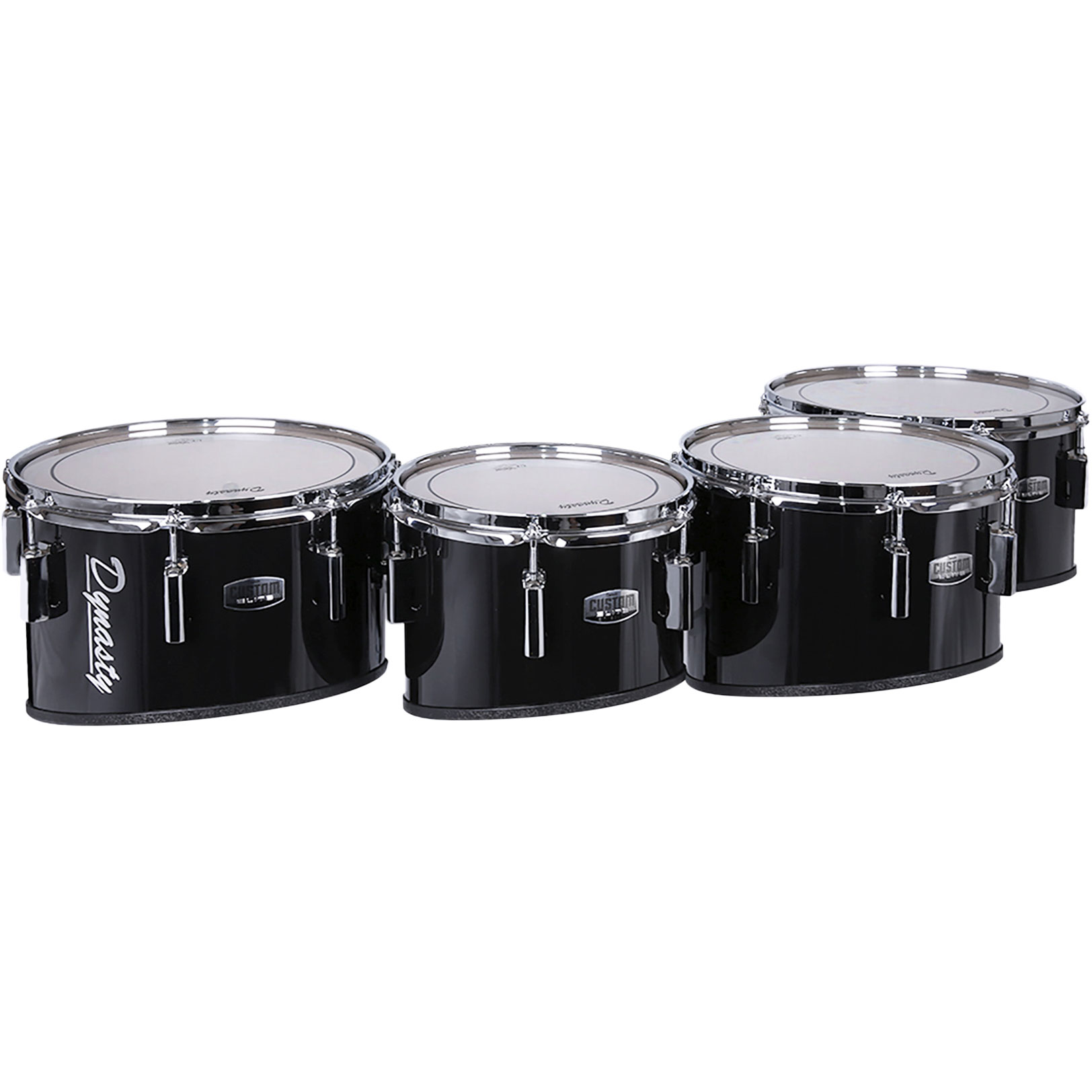 """Dynasty 8-10-12-14"""" Custom Elite Marching Tenors with Chrome Hardware in Black"""