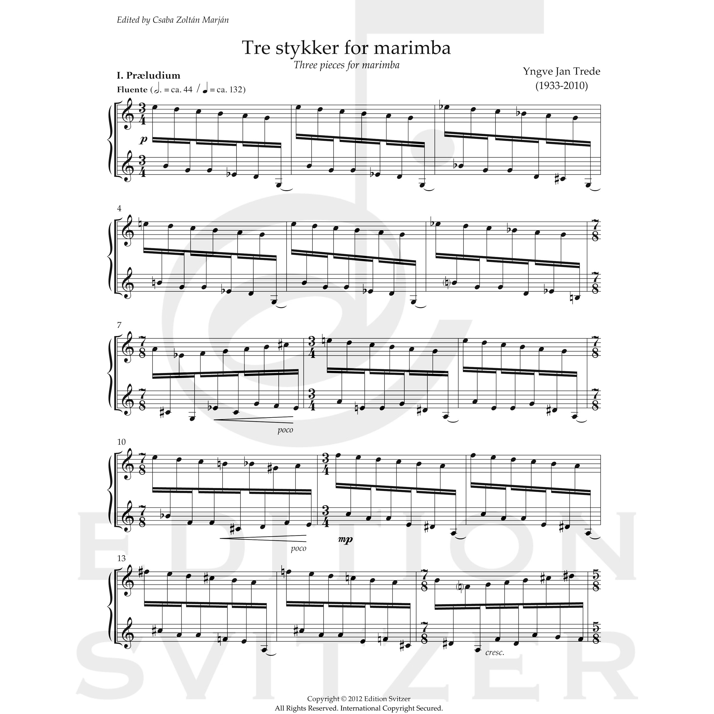 Three Pieces for Marimba by Yngve Jan Trede