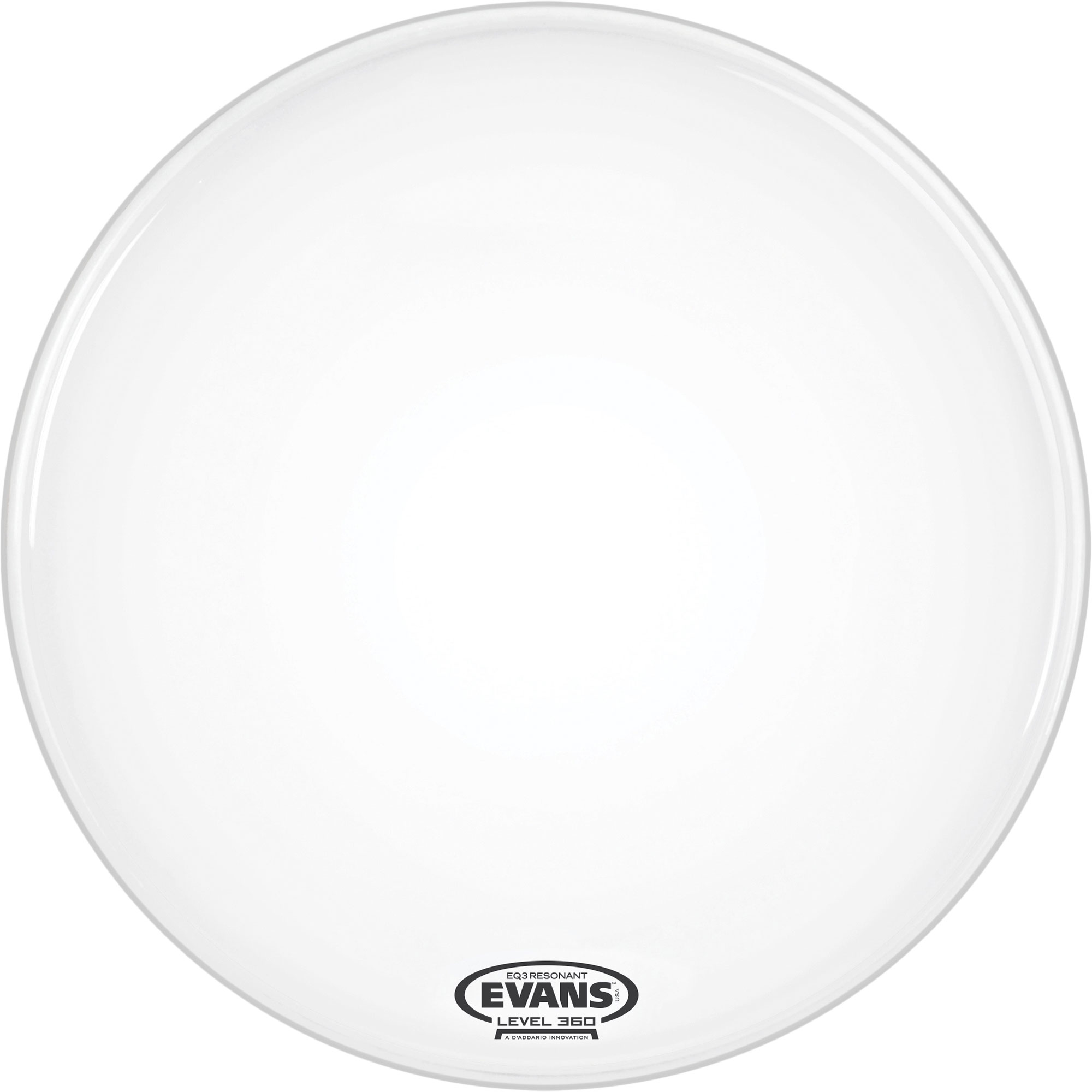 """Evans 18"""" EQ3 Resonant Coated White Bass Drum Head without Port"""