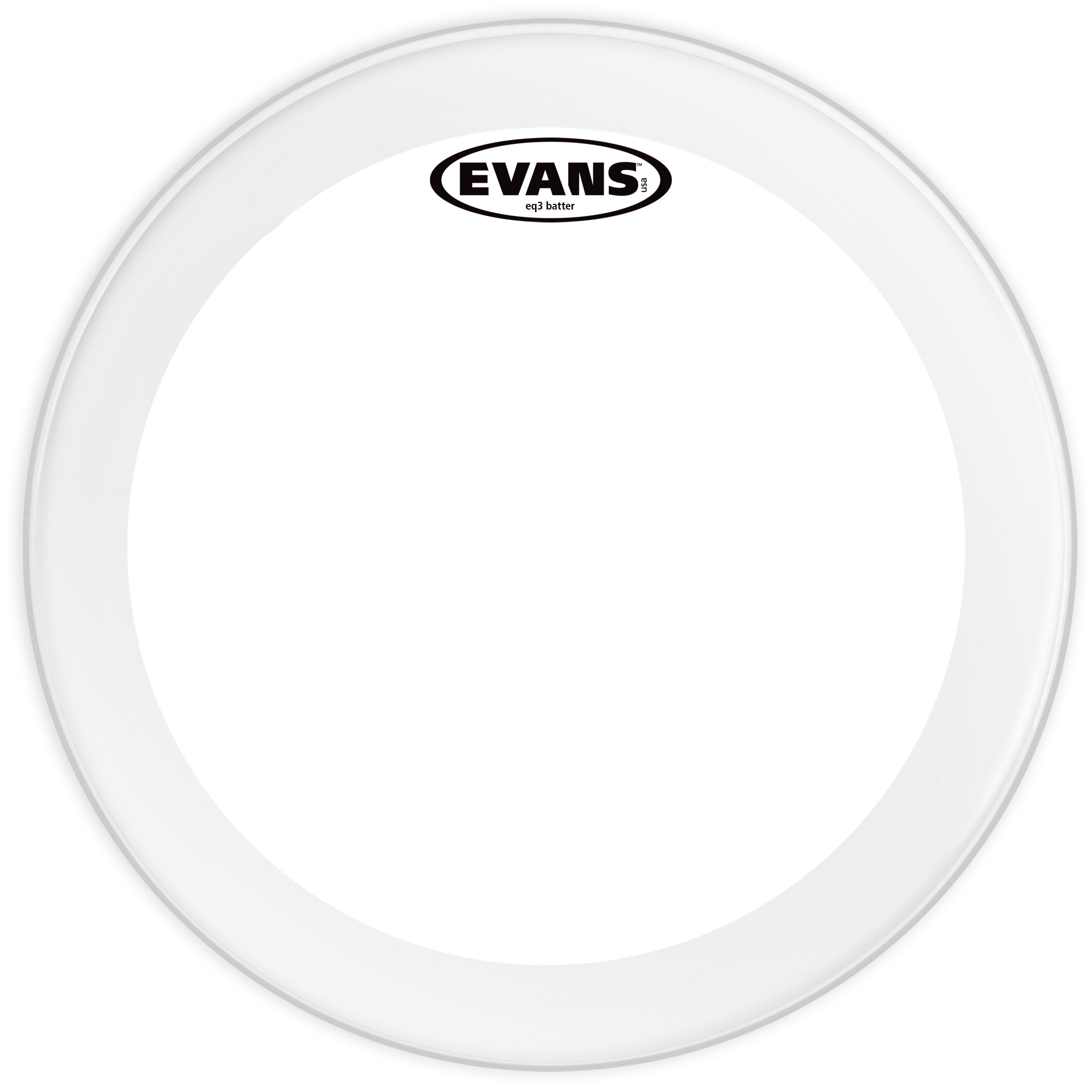 """Evans 20"""" EQ3 Frosted Bass Head"""