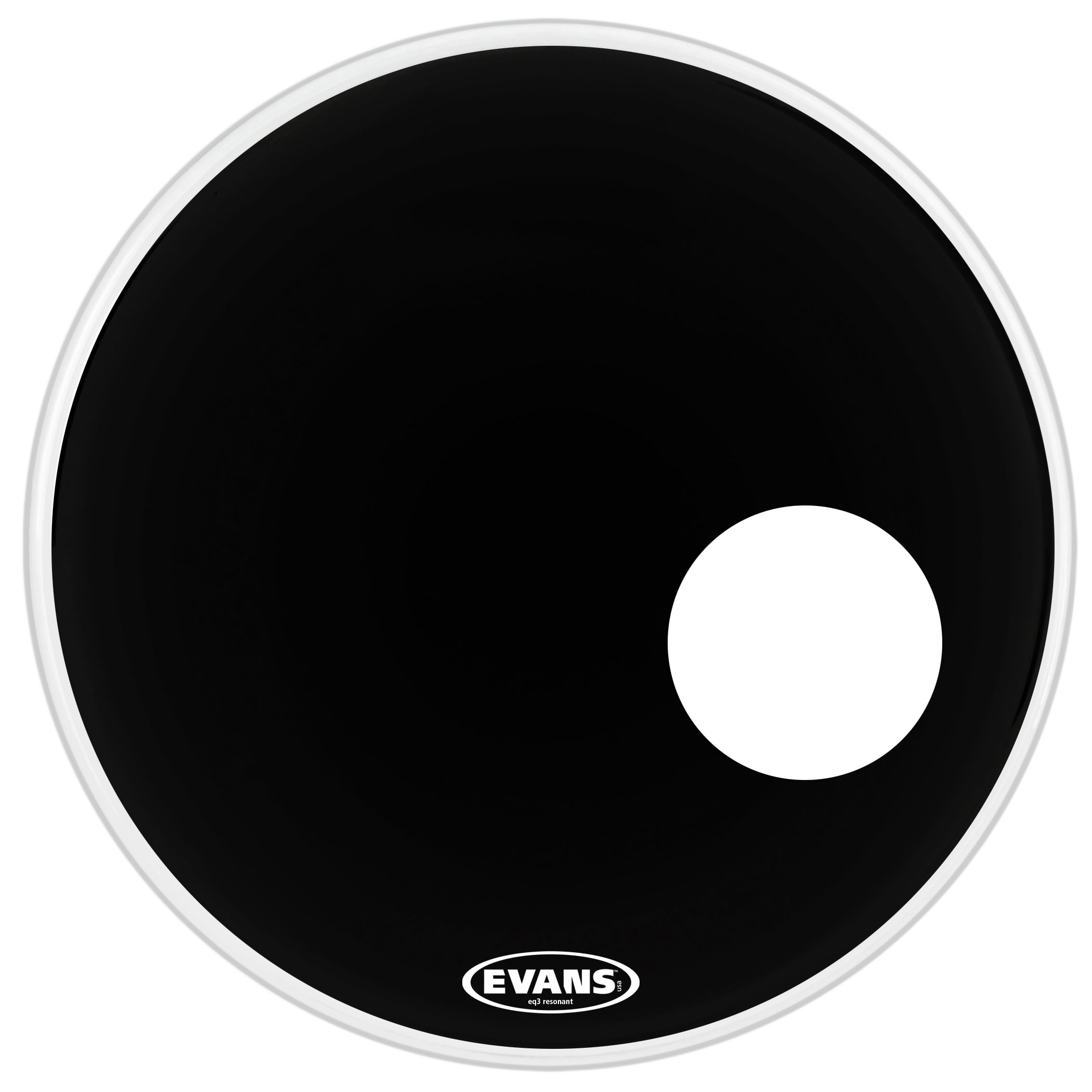 "Evans 22"" EQ3 Resonant Black Bass Head"