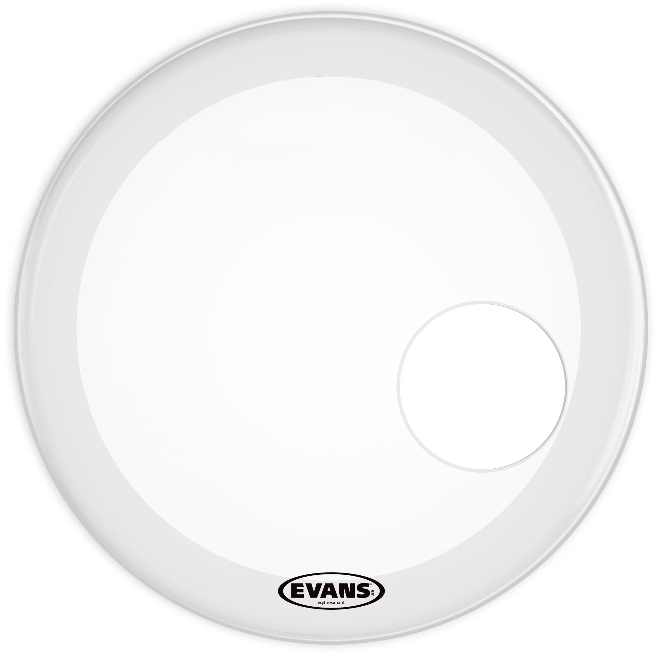 "Evans 24"" EQ3 Coated White Resonant Bass Head"