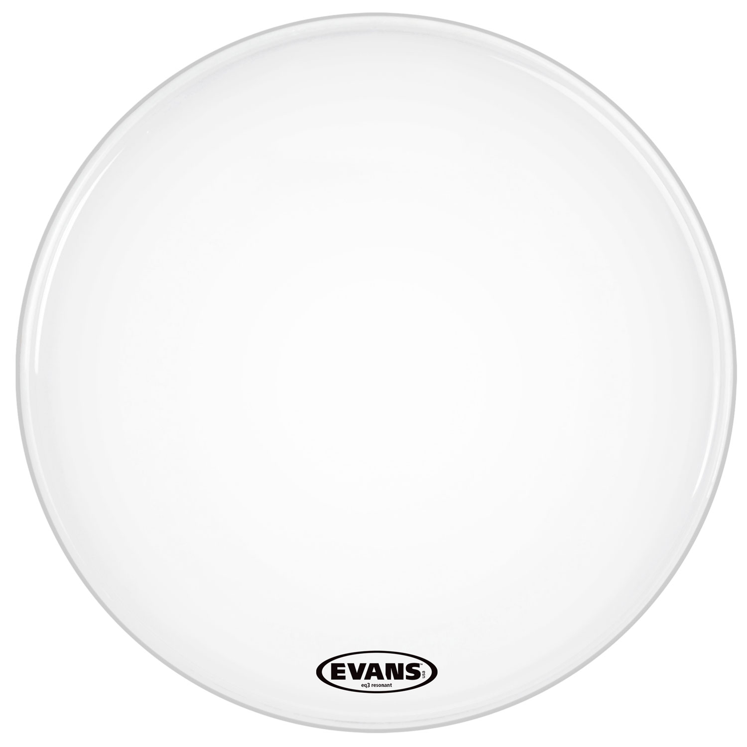"Evans 26"" EQ3 Resonant Coated White Bass Head without Port"