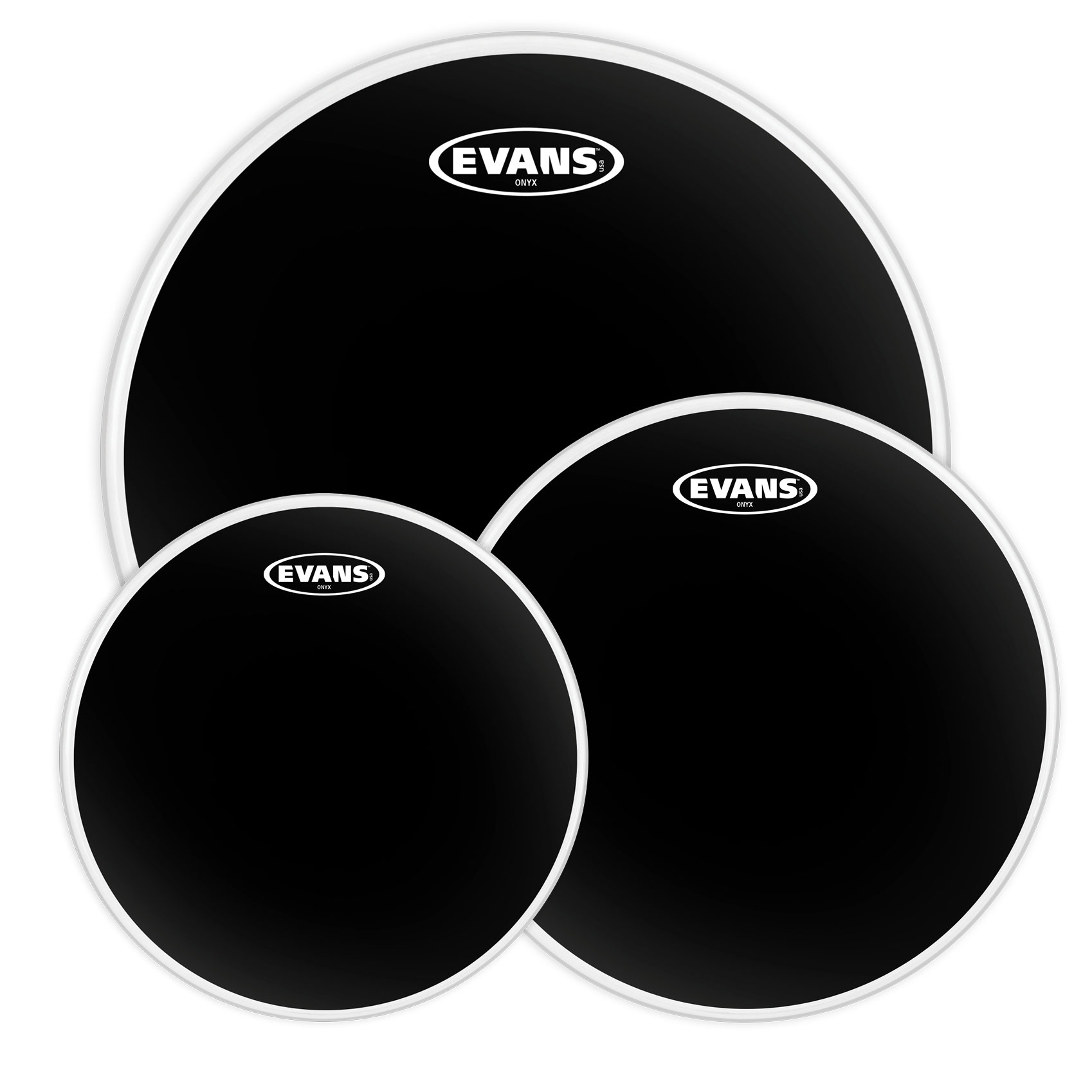 "Evans 10""/12""/16"" Onyx Rock Tom Head Pack"