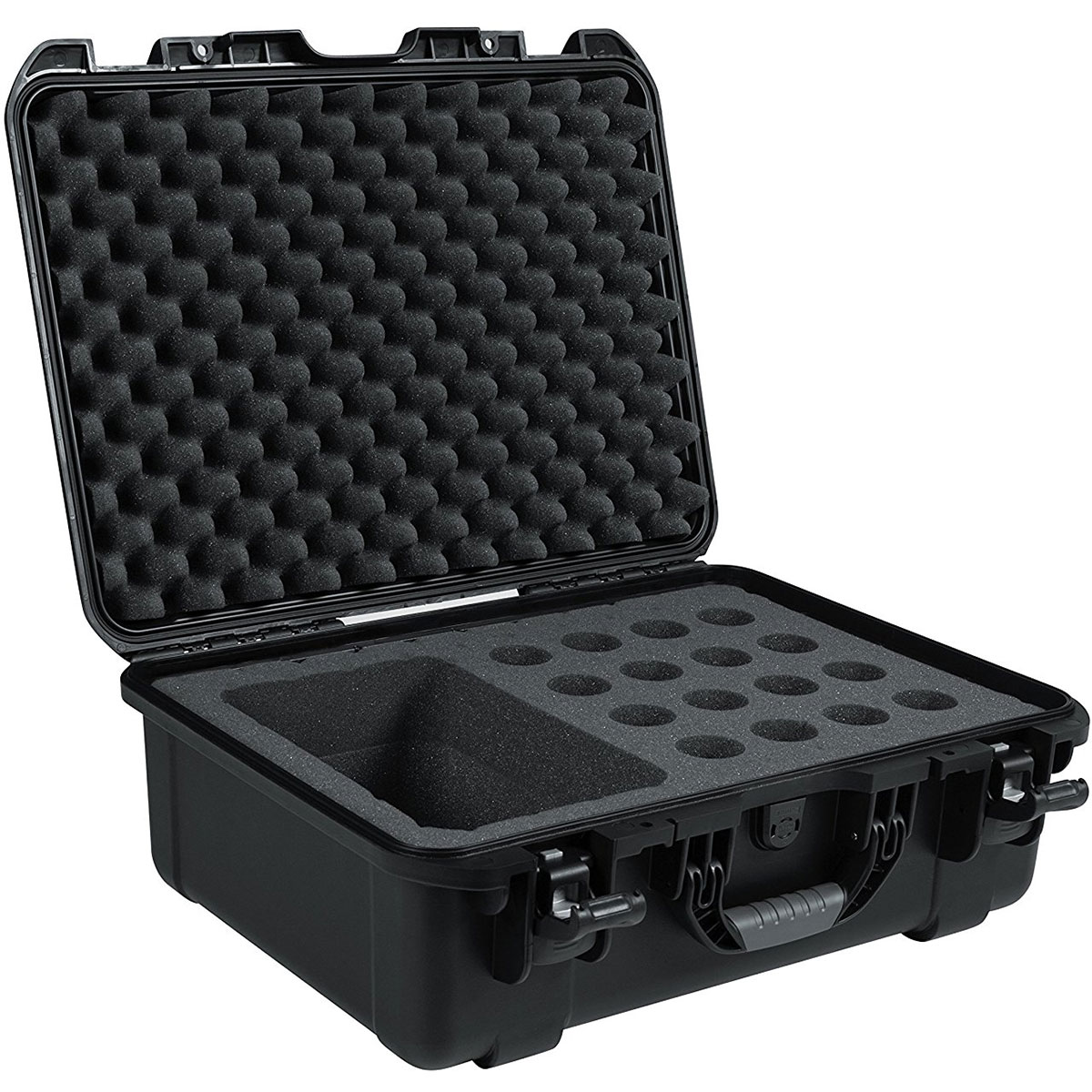 Gator Cases Black Waterproof Injection Molded Case with Foam Insert for 16 Handheld Microphones and Accessories