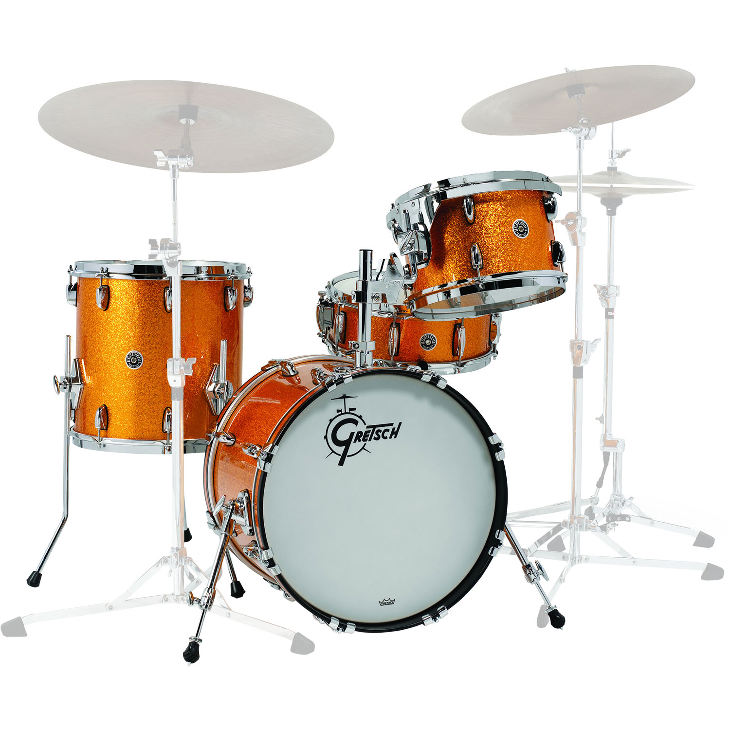 "Gretsch Brooklyn 4-Piece Drum Set Shell Pack (18"" Bass, 12/14"" Toms, 14"" Snare Drum) in Gold Sparkle Nitron"