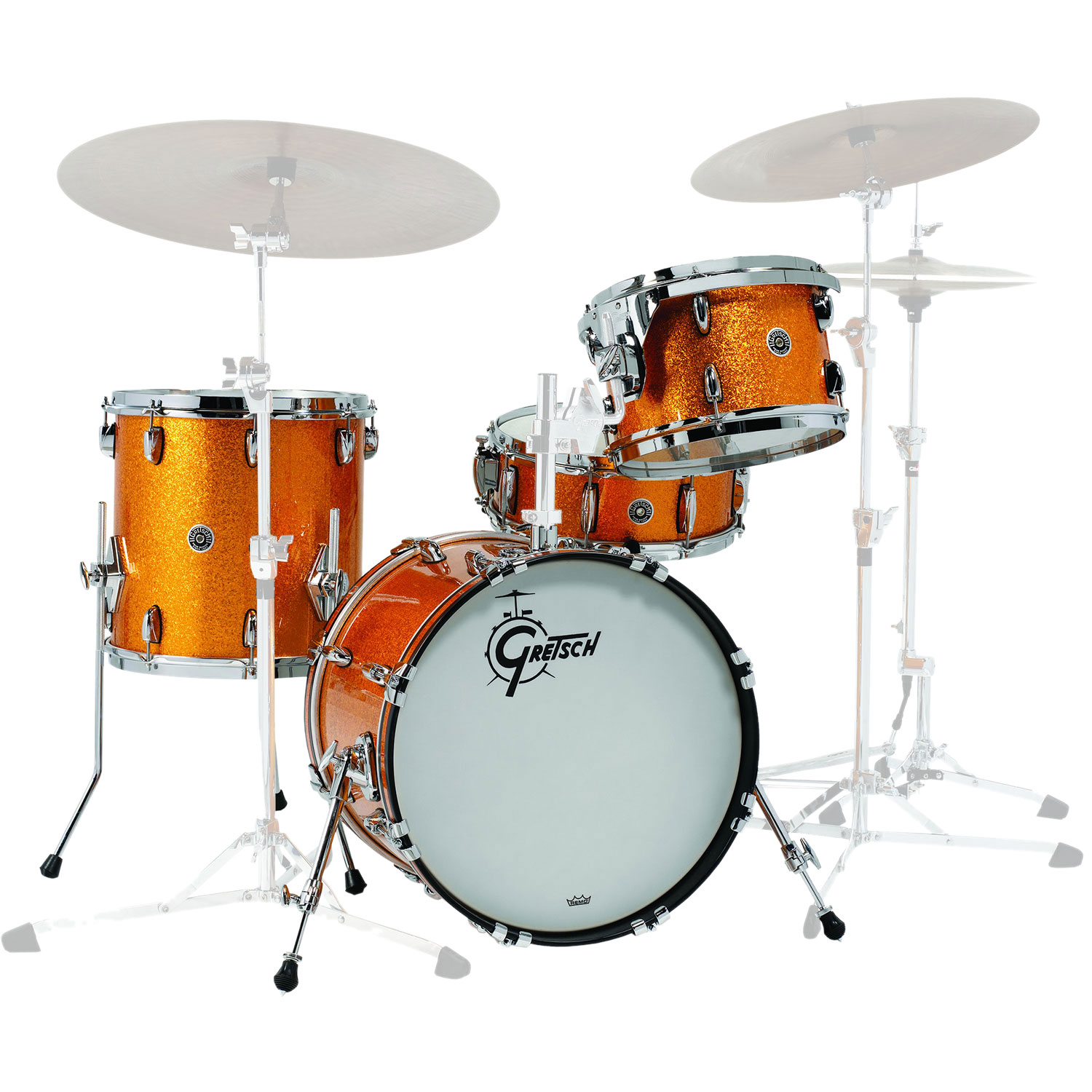 "Gretsch Brooklyn 4-Piece Drum Set Shell Pack (18"" Bass, 12/14"" Toms, 14"" Snare Drum) in Gold Sparkle Nitron - Demo Model"