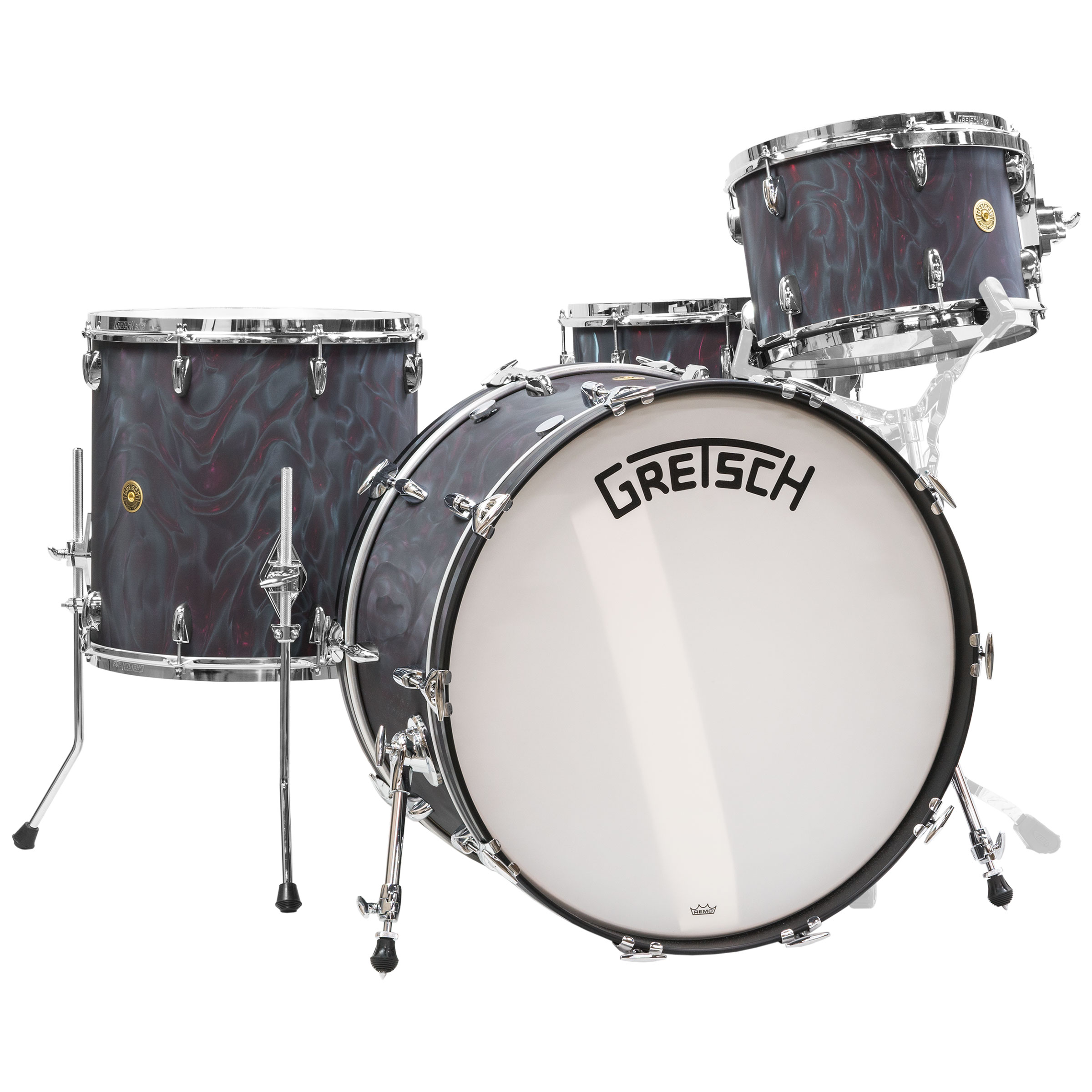 "Gretsch Broadkaster 4-Piece Drum Set Shell Pack (24"" Bass, 13/16"" Toms, 6.5 x 14"" Snare) in Black Satin Flame"