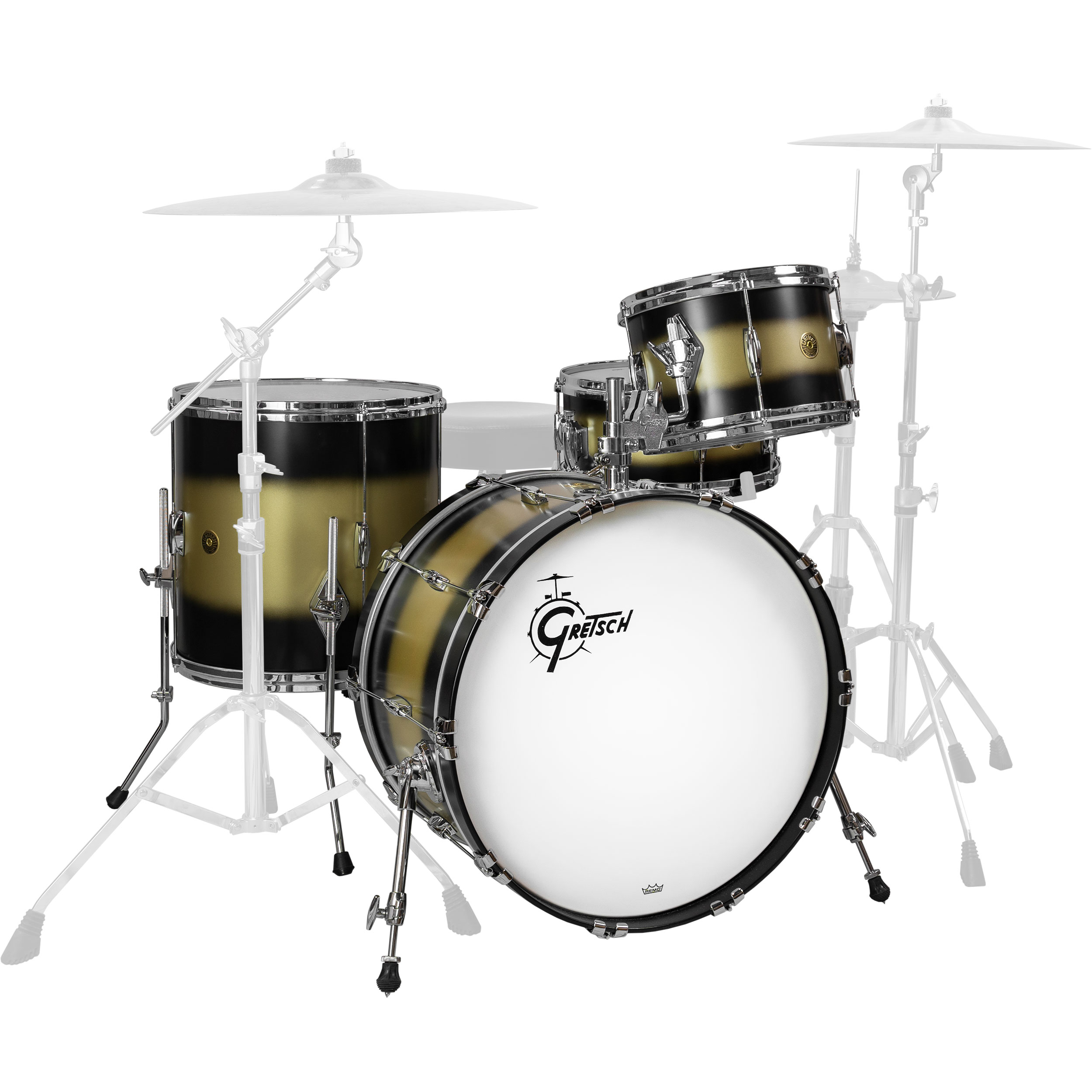 "Gretsch USA Custom Heritage 4-Piece Drum Set Shell Pack (22"" Bass, 12/16"" Toms, 14"" Snare) in Black Gold Duco"