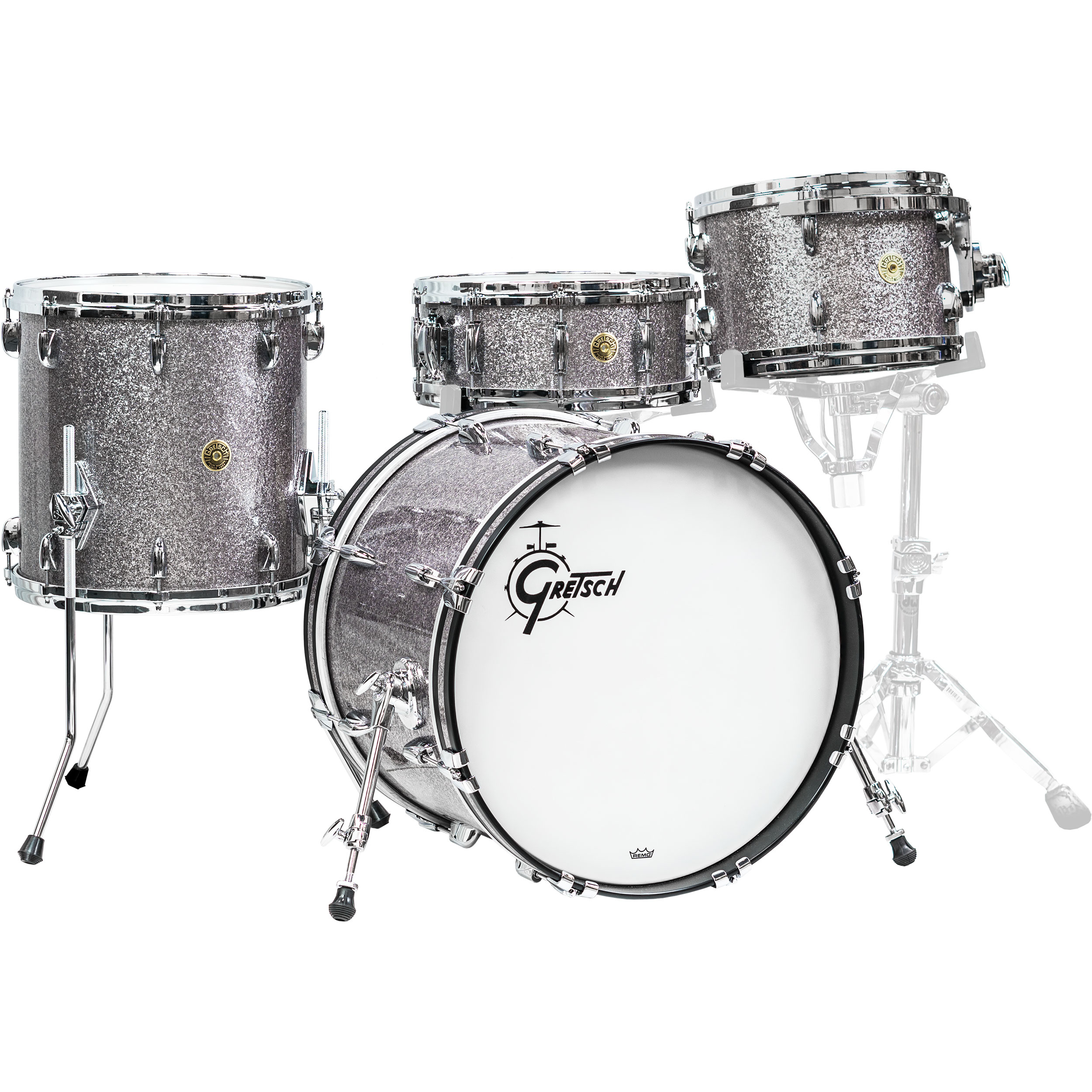 "Gretsch USA Custom 4-Piece Drum Set Shell Pack (20"" Bass, 12/14"" Toms, 14"" Snare) in Pewter Sparkle"