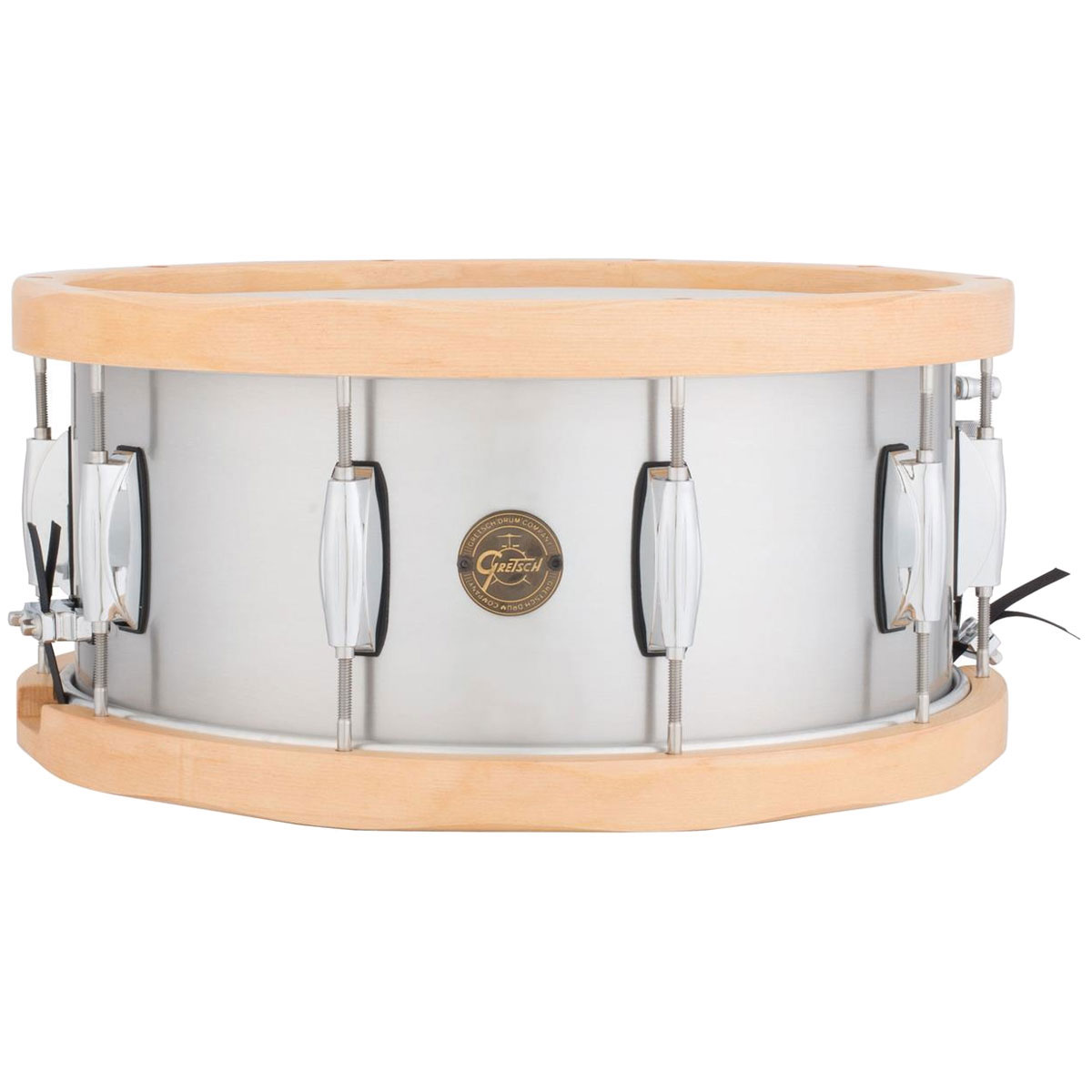 """Gretsch 6.5"""" x 14"""" Full Range Aluminum Snare Drum with Wood Hoops"""