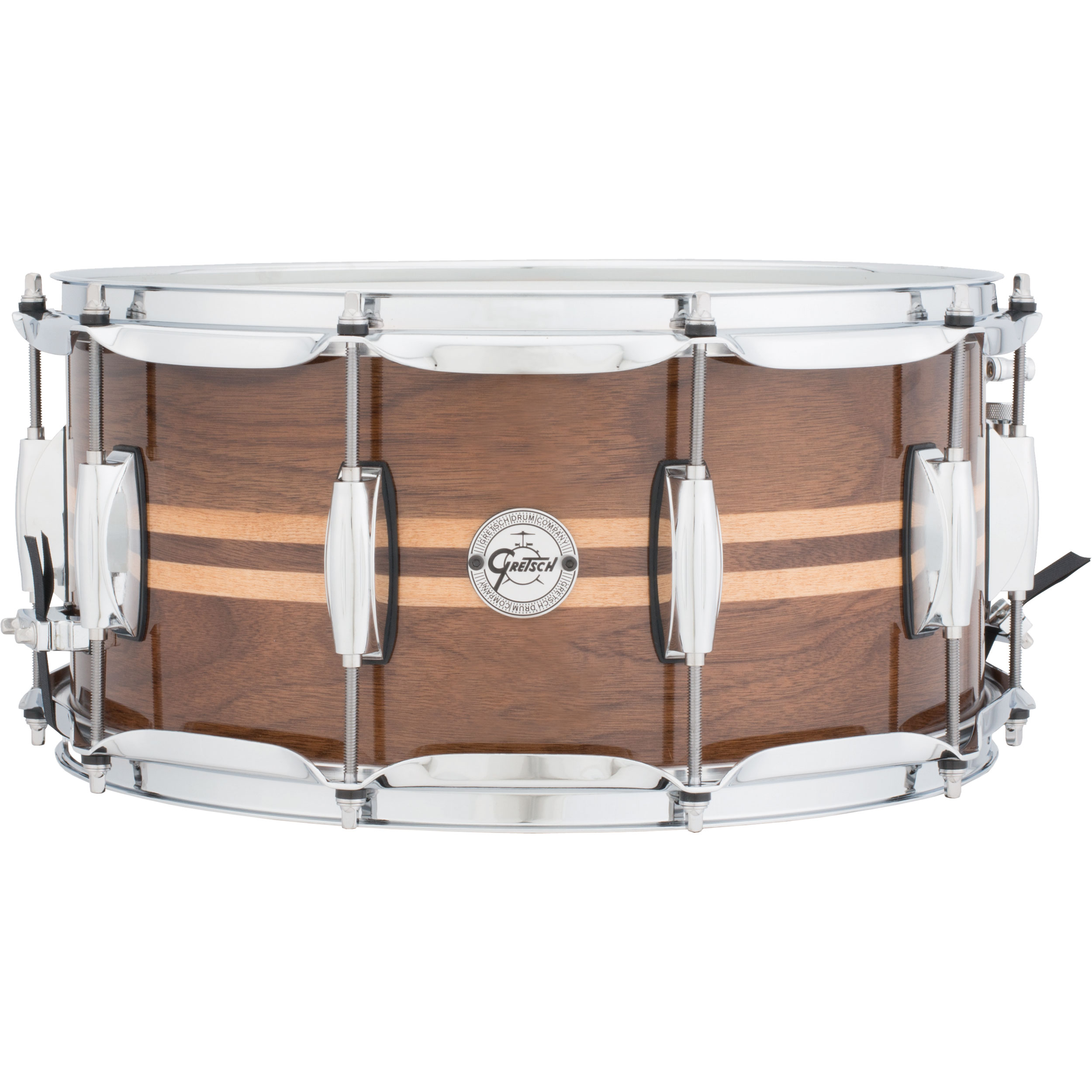 "Gretsch 6.5"" x 14"" Silver Series Walnut Snare Drum with Maple Inlays"