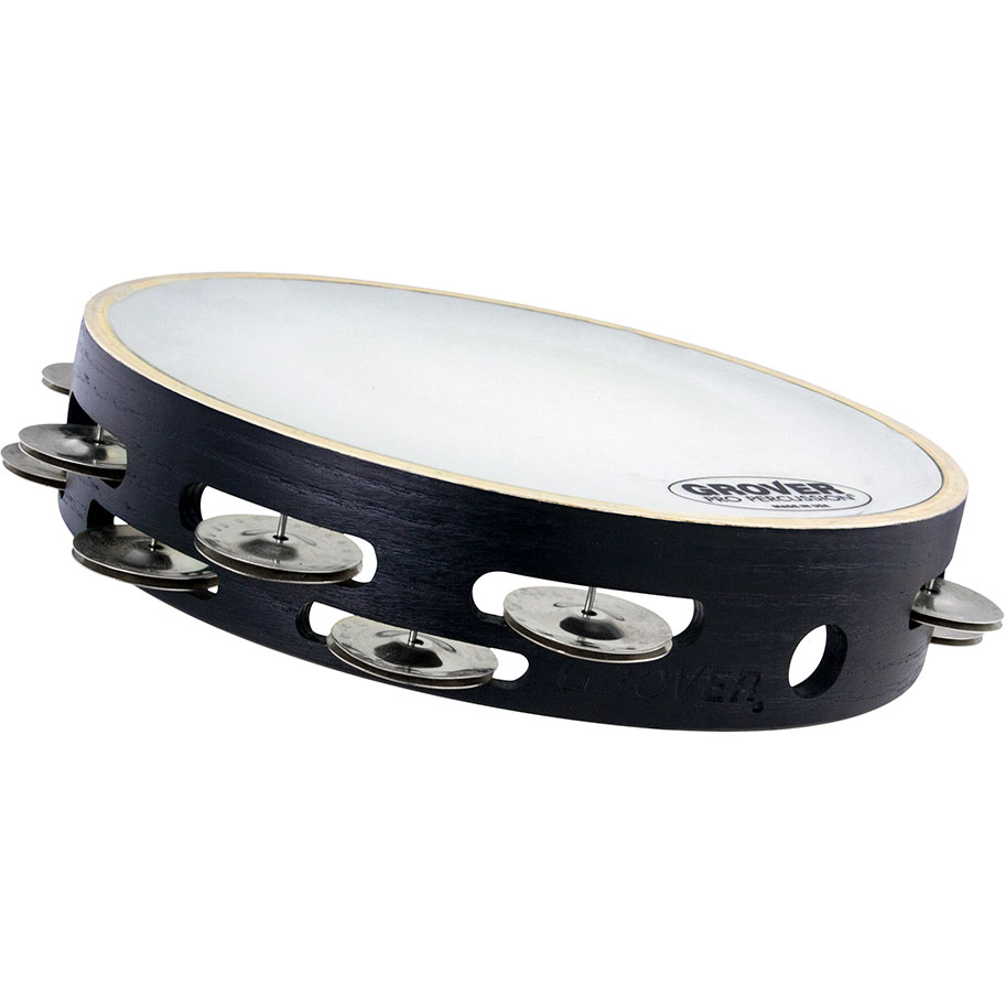 """Grover Pro 10"""" X-Series Double-Row German Silver Tambourine (Synthetic Head)"""