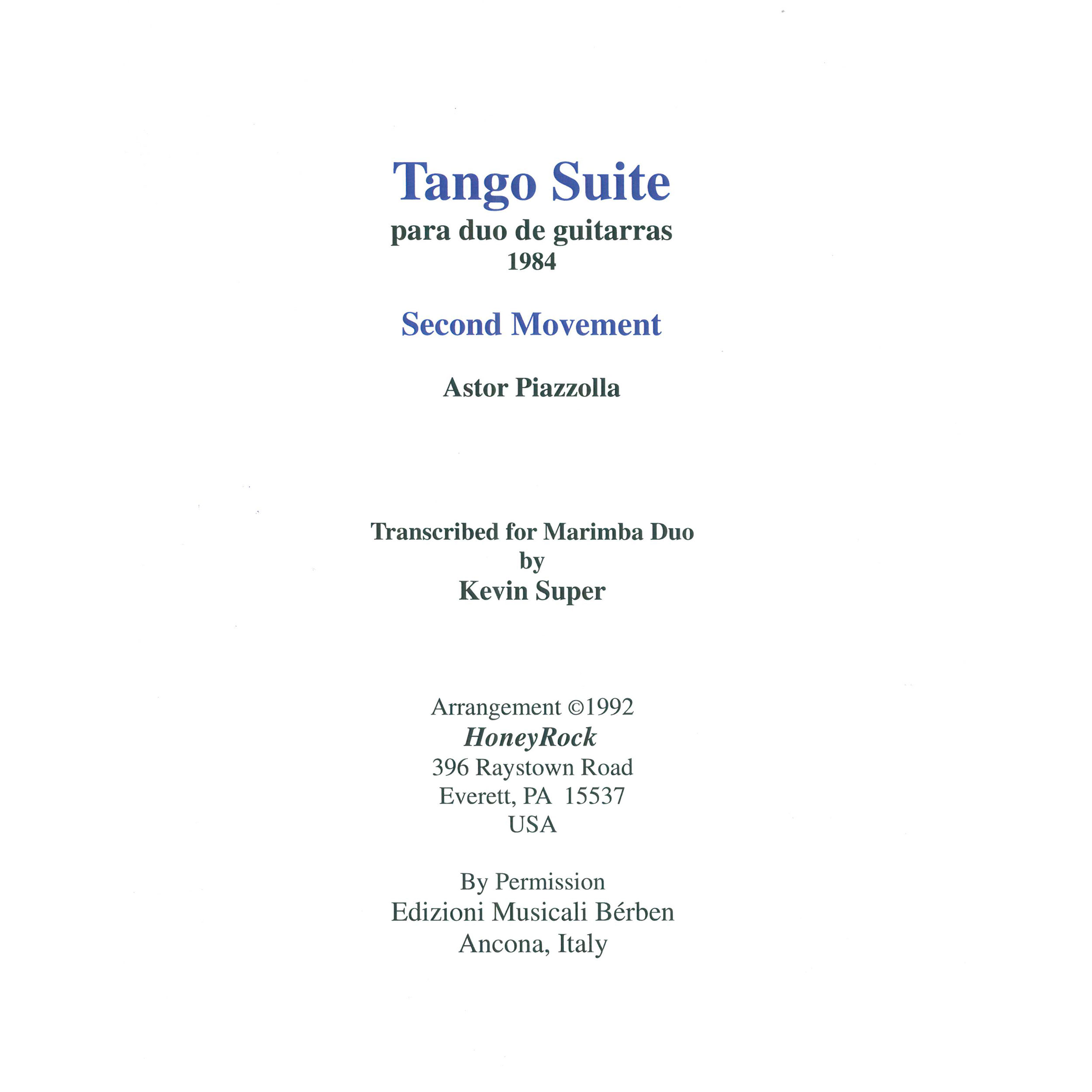 Tango Suite Mvt. II by Astor Piazzolla arr. Kevin Super