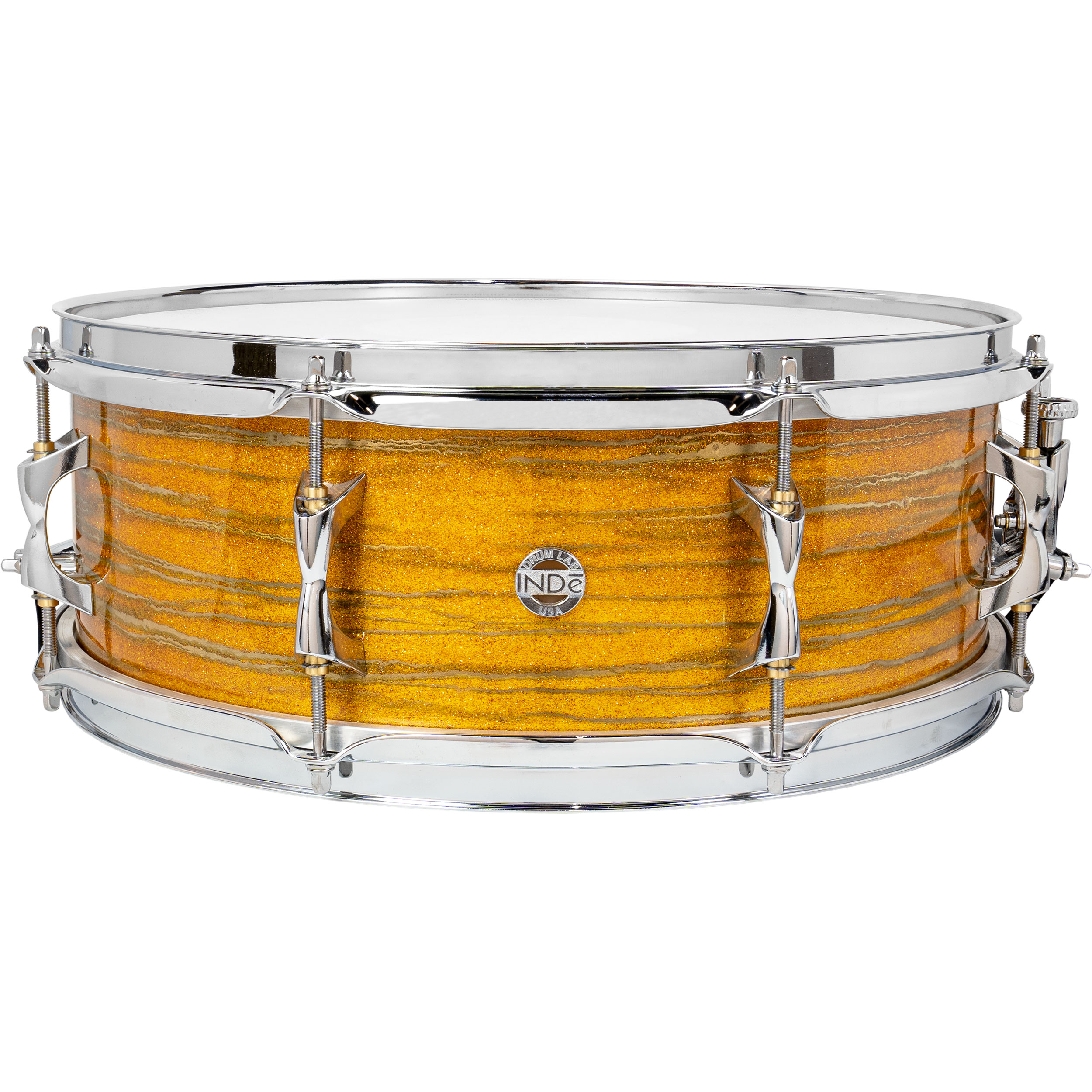 """Inde 5.5"""" x 15"""" ResoArmor Snare Drum in Yellow Sparkle with Gold Swirl (Demo)"""