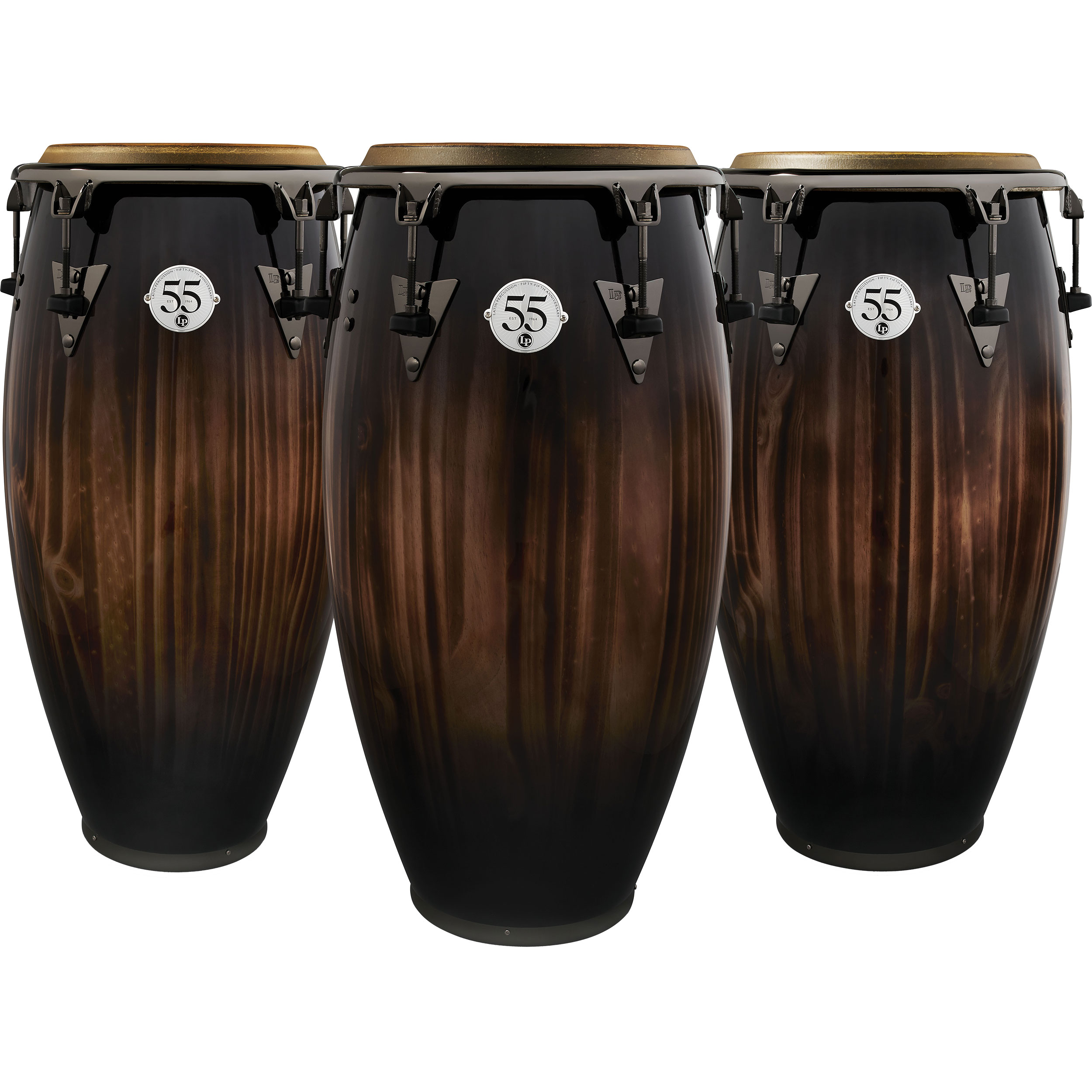 LP 55th Anniversary 3-Piece Conga Set in Candy Black Fade with Black Nickel Hardware