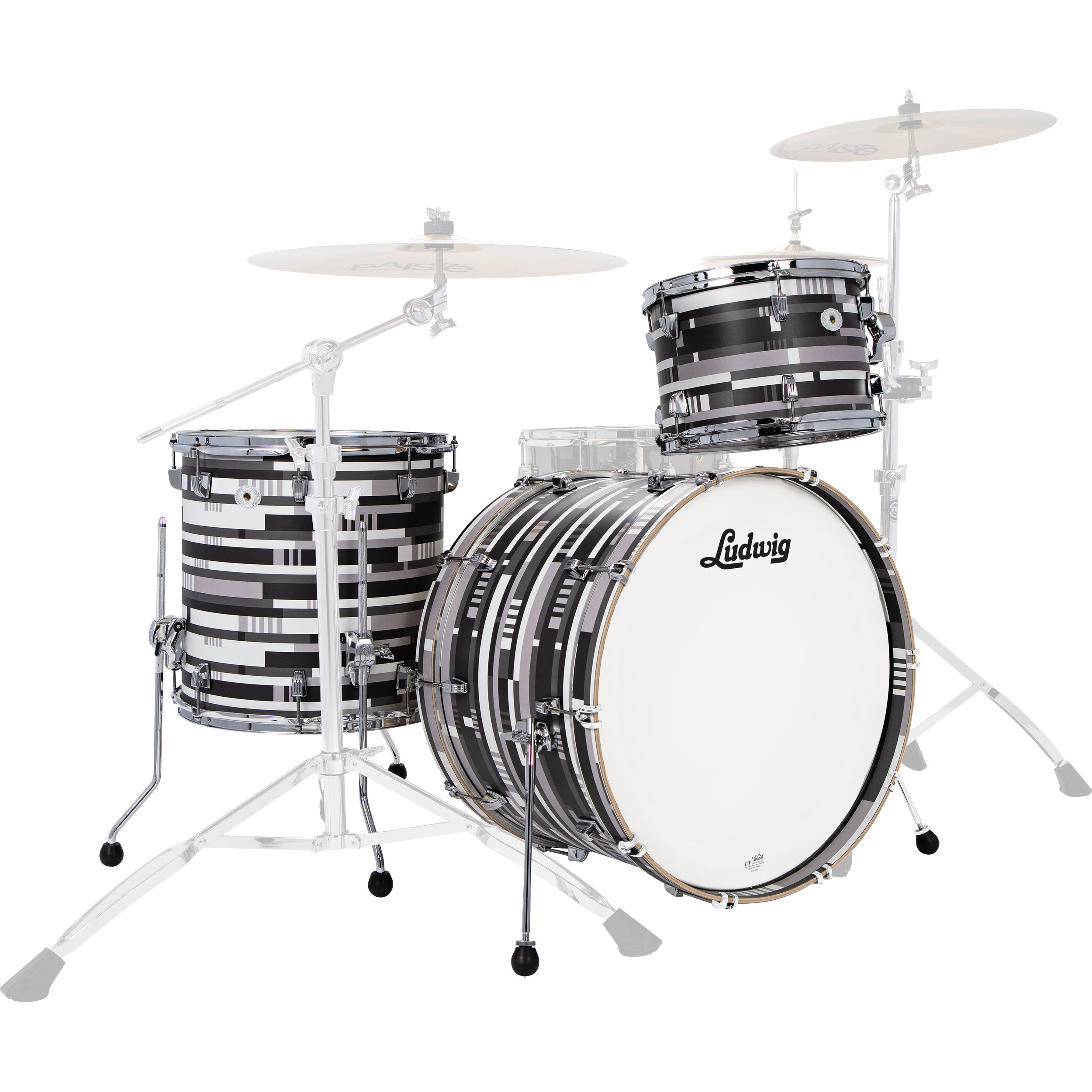 "Ludwig Limited Edition Neusonic 3-Piece FAB Drum Set Shell Pack (22"" Bass, 13/16"" Toms) in Digital Black Oyster"
