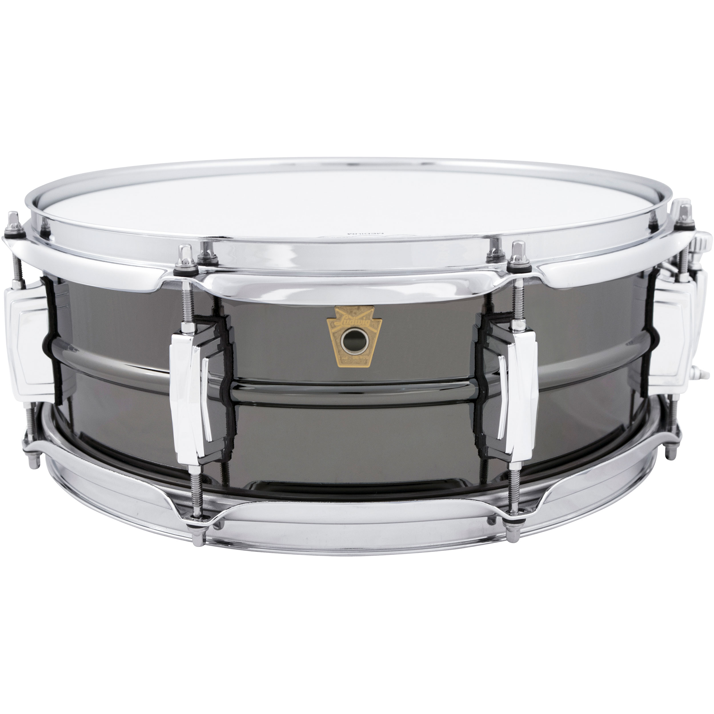 """Ludwig 5"""" x 14"""" 8-Lug Black Beauty Snare Drum with Imperial Lugs"""