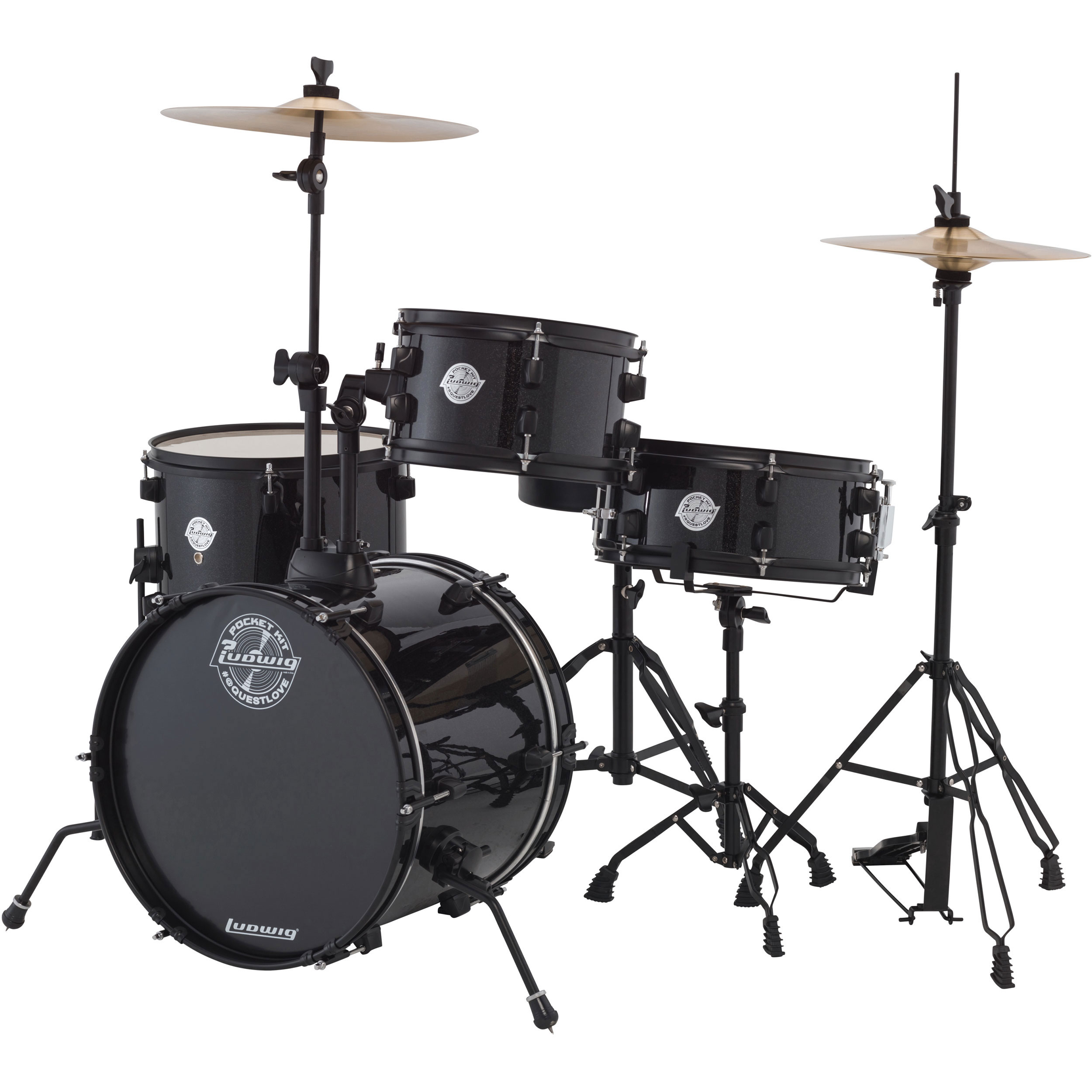 """Ludwig Pocket Kit 4-Piece Drum Set with Hardware & Cymbals (16"""" Bass, 10/13"""" Toms, 12"""" Snare)"""