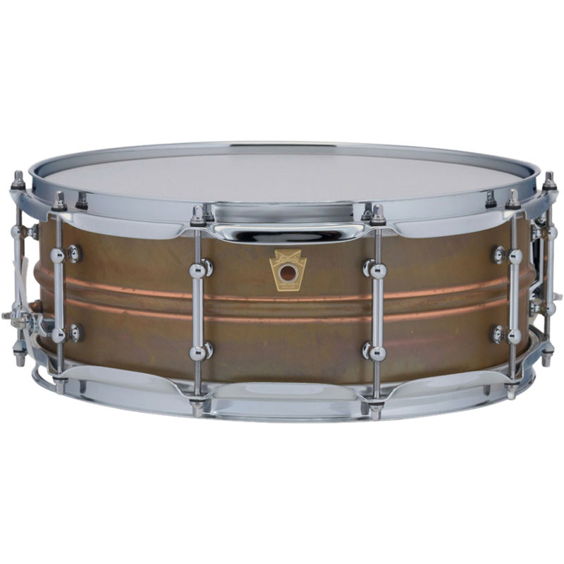 """Ludwig 5"""" x 14"""" Raw Copper Phonic Snare Drum with Tube Lugs"""