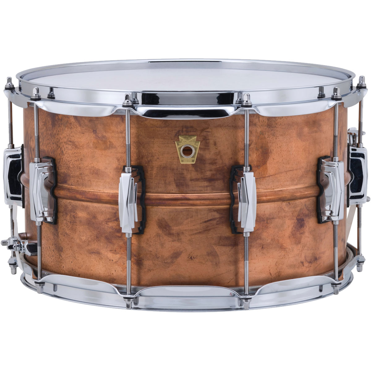 """Ludwig 8"""" x 14"""" Raw Copper Phonic Snare Drum with Imperial Lugs"""