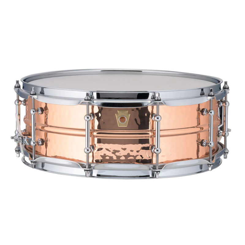"""Ludwig 5"""" x 14"""" Hammered Copper Phonic Snare Drum with Tube Lugs"""