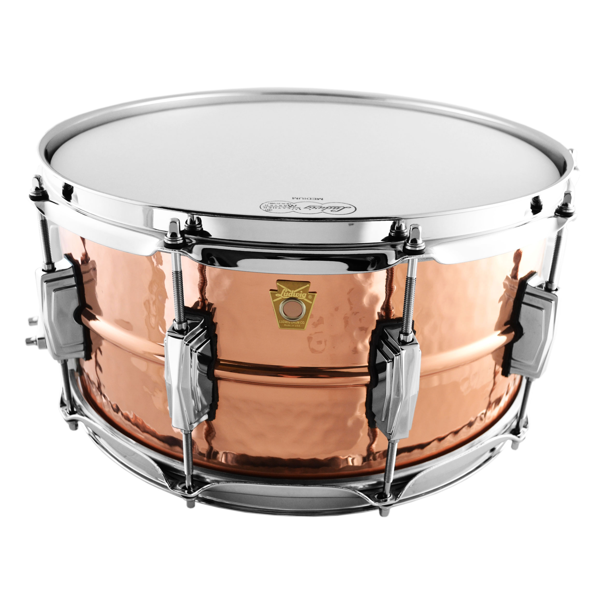 """Ludwig 6.5"""" x 14"""" Hammered Copper Phonic Snare Drum with Imperial Lugs"""