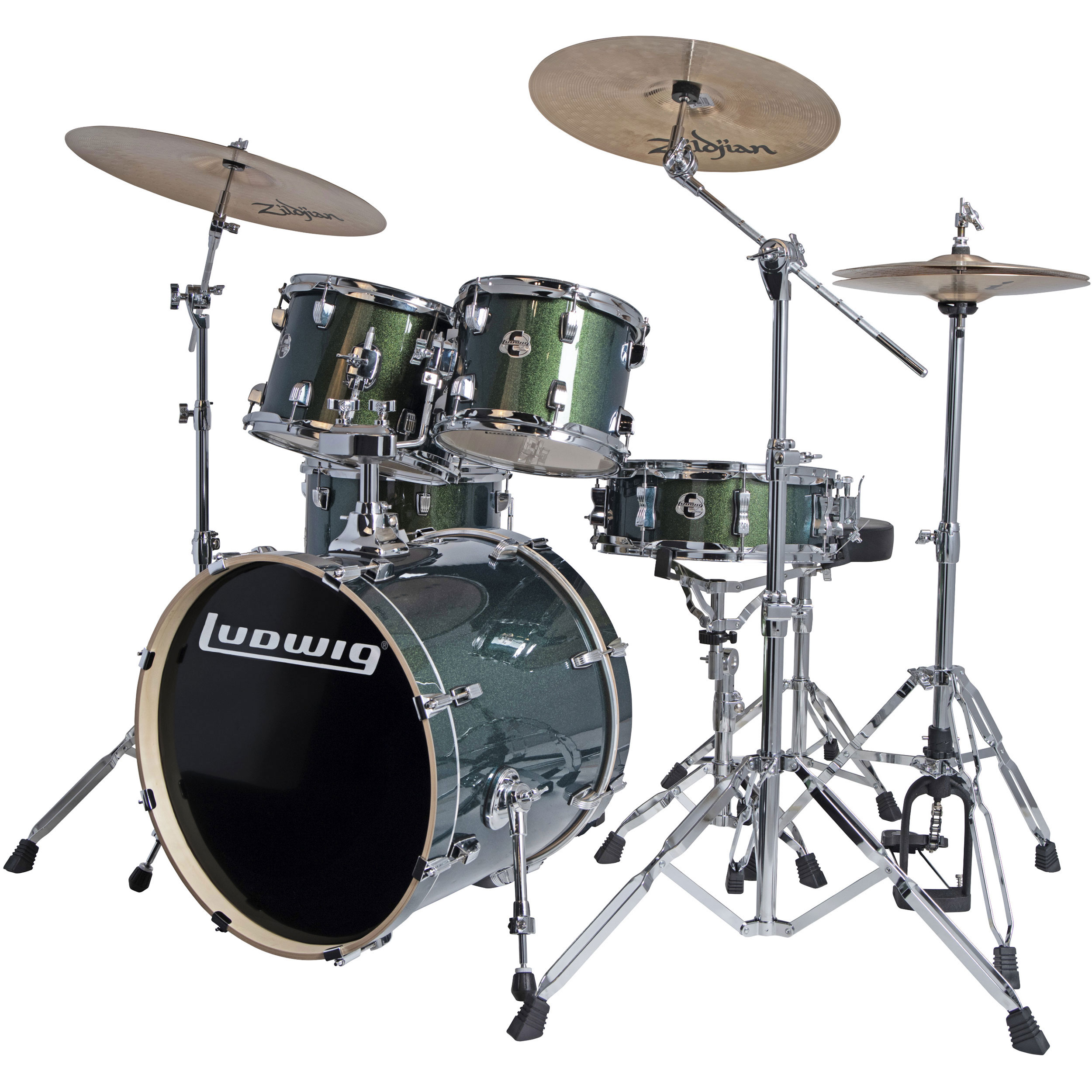 "Ludwig Evolution 5-Piece Drum Set with Hardware & Zildjian I Series Cymbals (20"" Bass, 10/12/14"" Toms, 14"" Snare)"