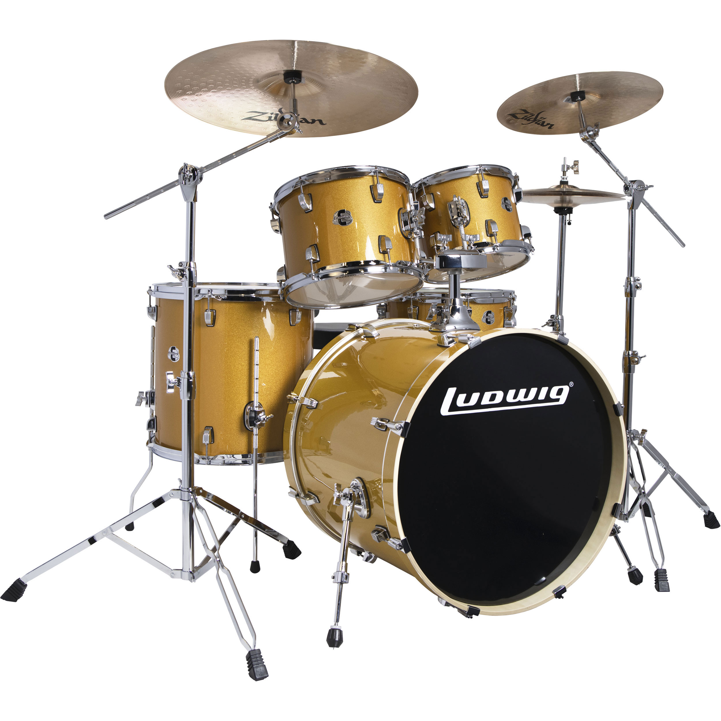 "Ludwig Evolution 5-Piece Drum Set with Hardware & Zildjian I Series Cymbals (22"" Bass, 10/12/16"" Toms, 14"" Snare)"
