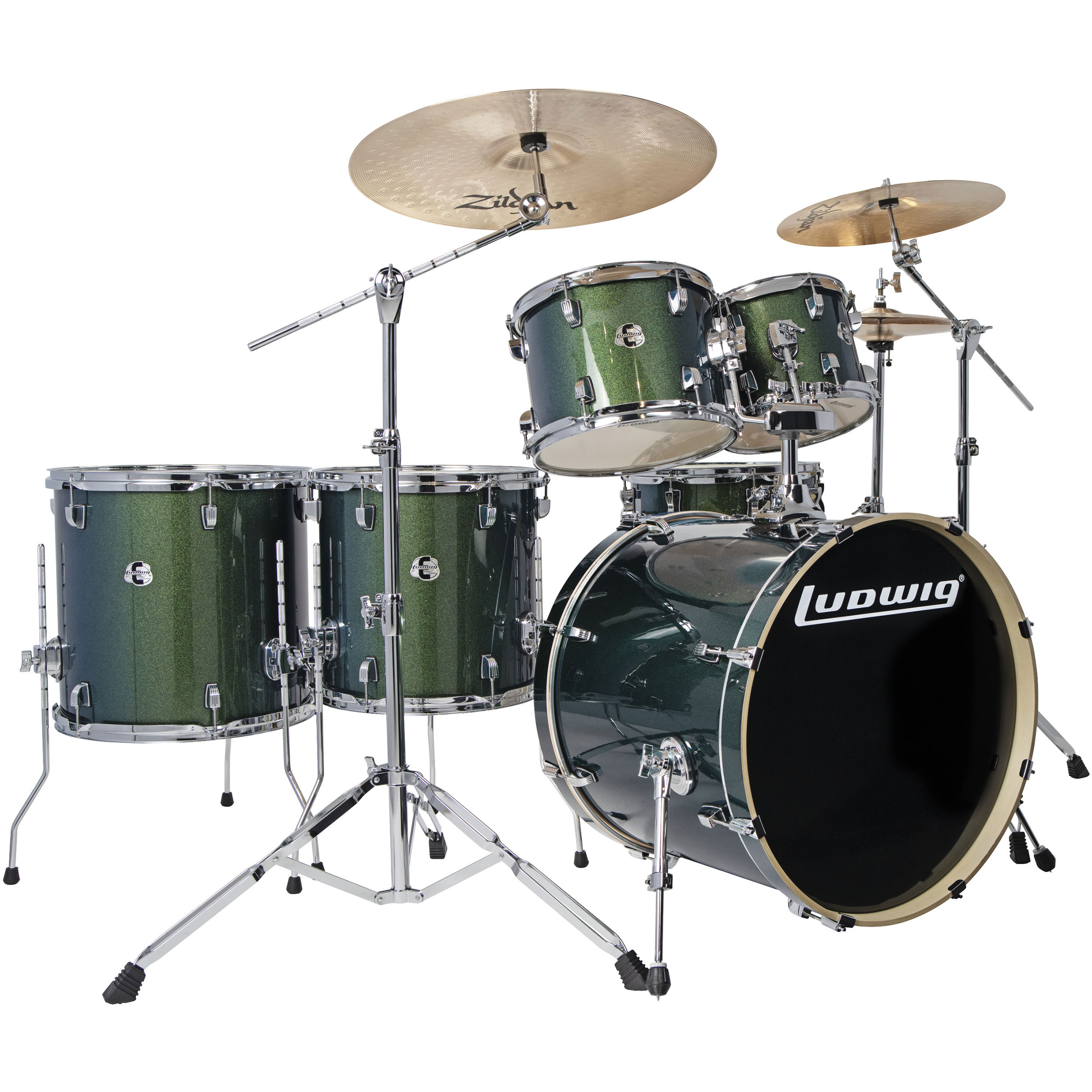 "Ludwig Evolution 6-Piece Drum Set with Hardware & Zildjian I Series Cymbals (22"" Bass, 10/12/14/16"" Toms, 14"" Snare)"