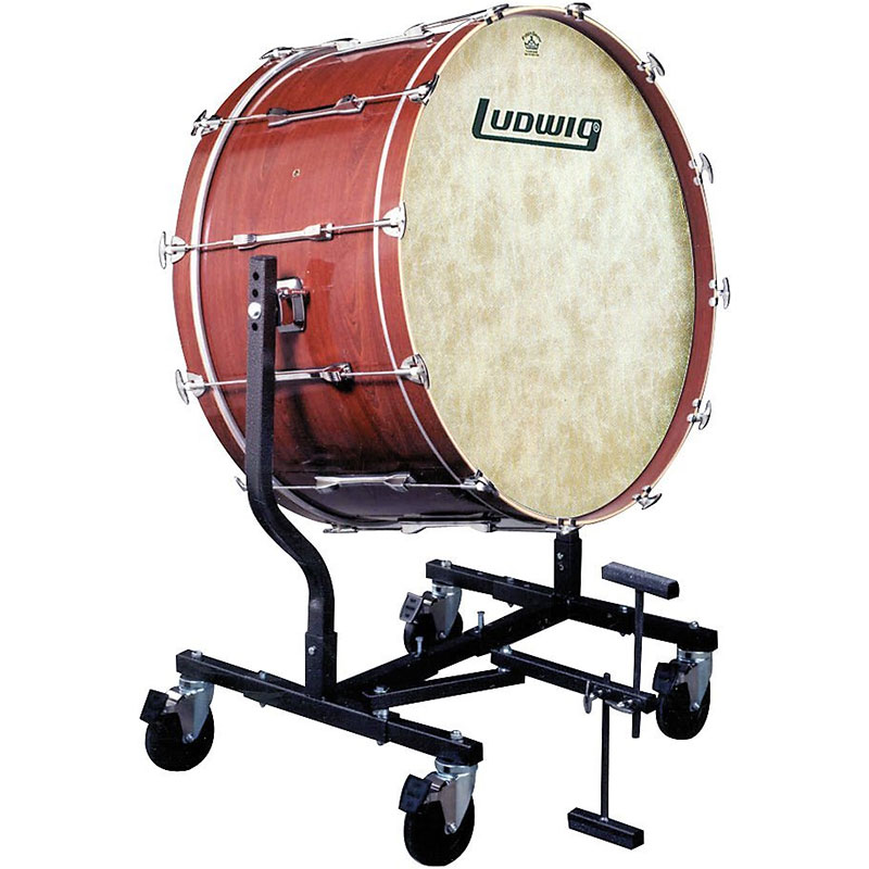 """Ludwig 16""""  x 32""""  Concert Bass Drum in Mahogany Stain with LE787 Tilting Stand"""