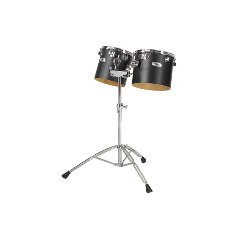 """Majestic 10"""" & 12"""" Concert Black Single-Headed Birch Concert Toms with Stand"""