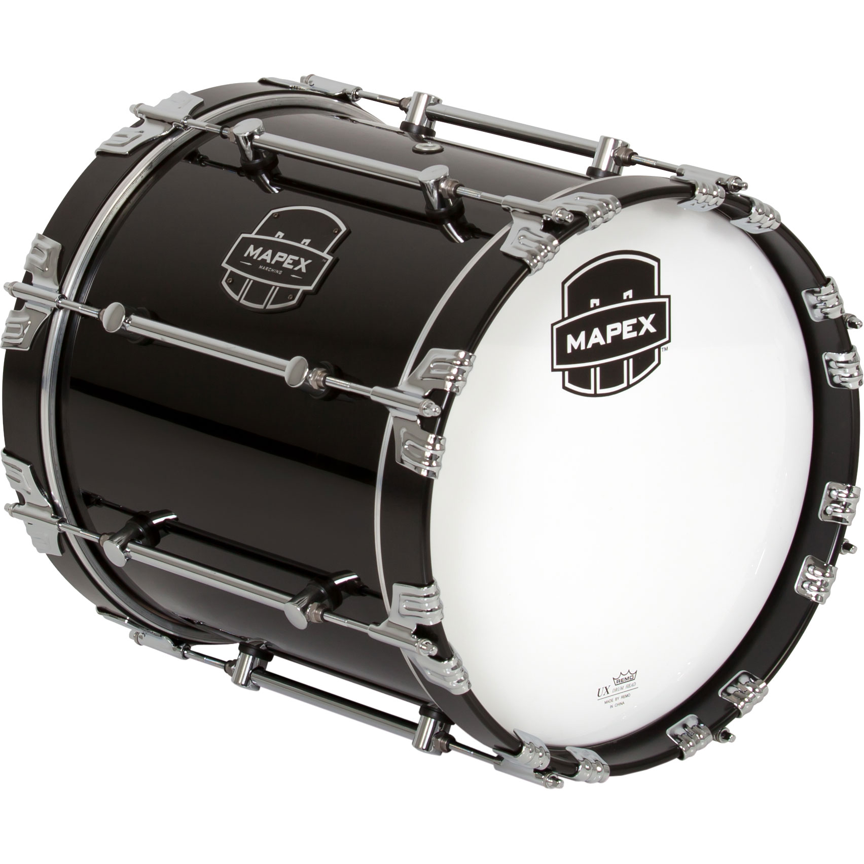 "Mapex 16"" x 14"" Quantum Mark II Marching Bass Drum in Gloss Black"
