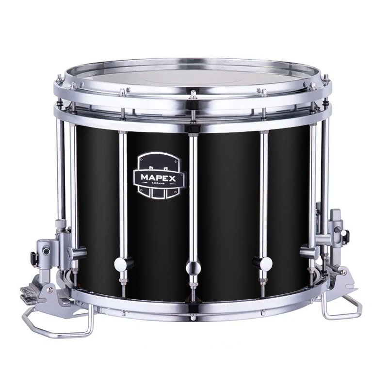 """Mapex 14"""" x 12"""" Quantum Mark II Marching Snare Drum in Gloss Black"""