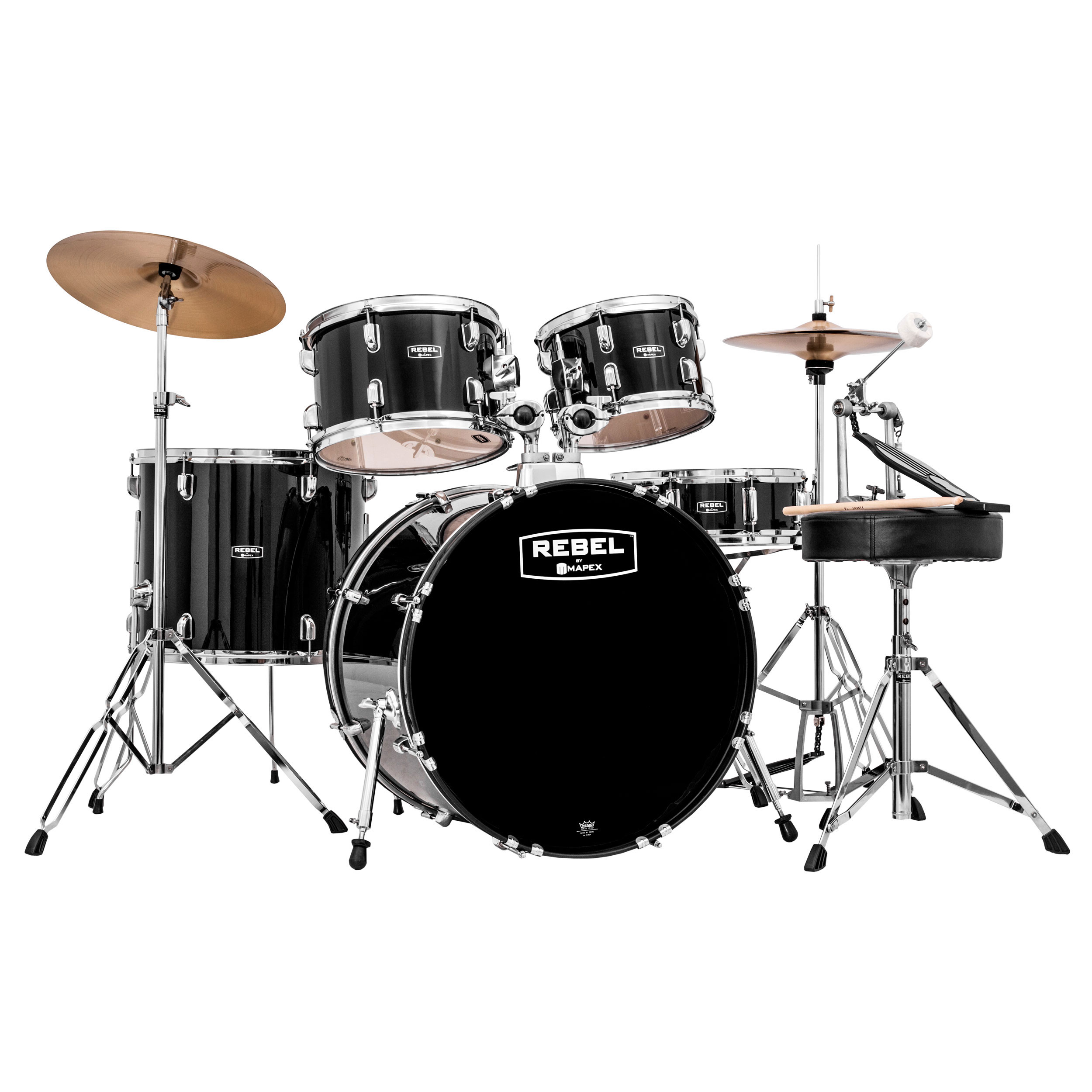 "Mapex Rebel 5-Piece Drum Set (18"" Bass, 10/12/14"" Toms, 14"" Snare) with Hardware and Cymbals"