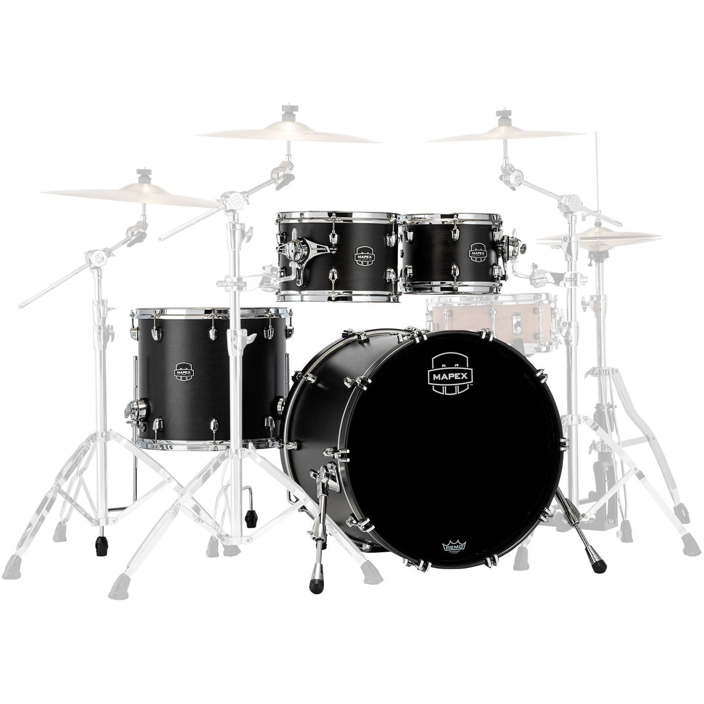 "Mapex Saturn 4-Piece Fusion Drum Set Shell Pack with Tom Mount (20"" Bass, 10/12/14"" Toms)"