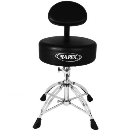 Mapex Round Top Drum Throne with Back Rest & Four Double-Braced Legs