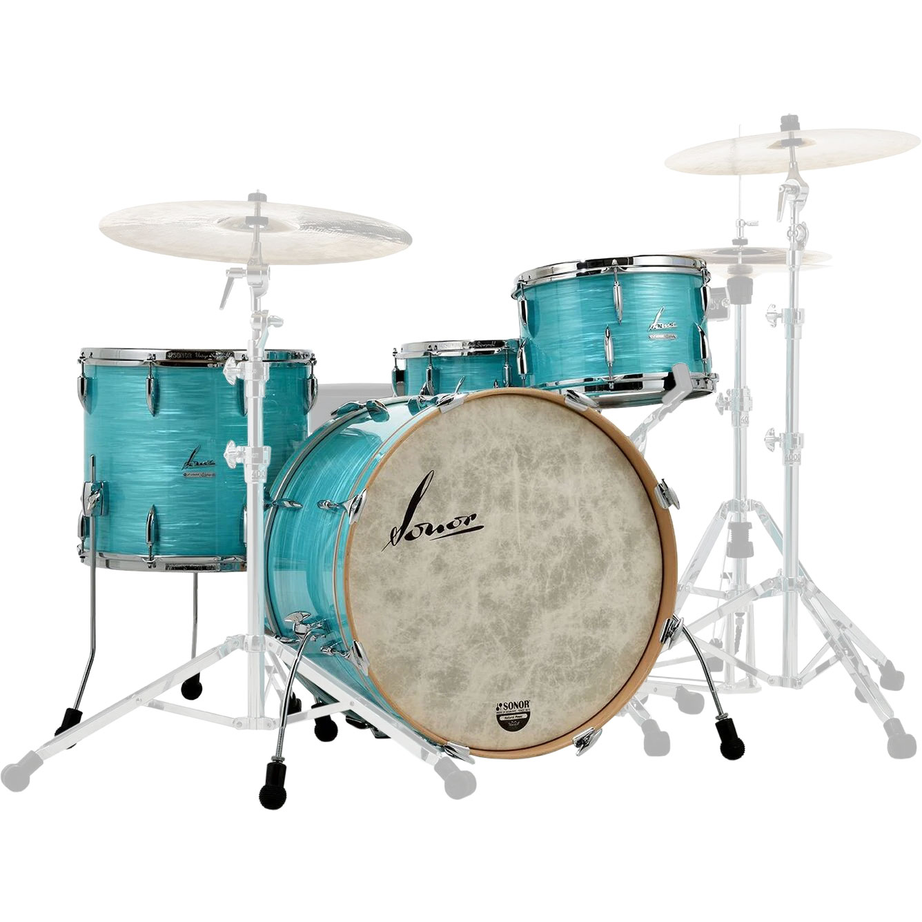 "Sonor Vintage 3-Piece Drum Set Shell Pack, No Tom Mount (22"" Bass, 13/16"" Toms)"