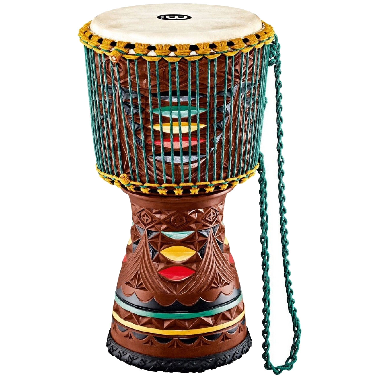 "Meinl 12"" Artisan Edition Djembe with Colored Ornamental Carving"