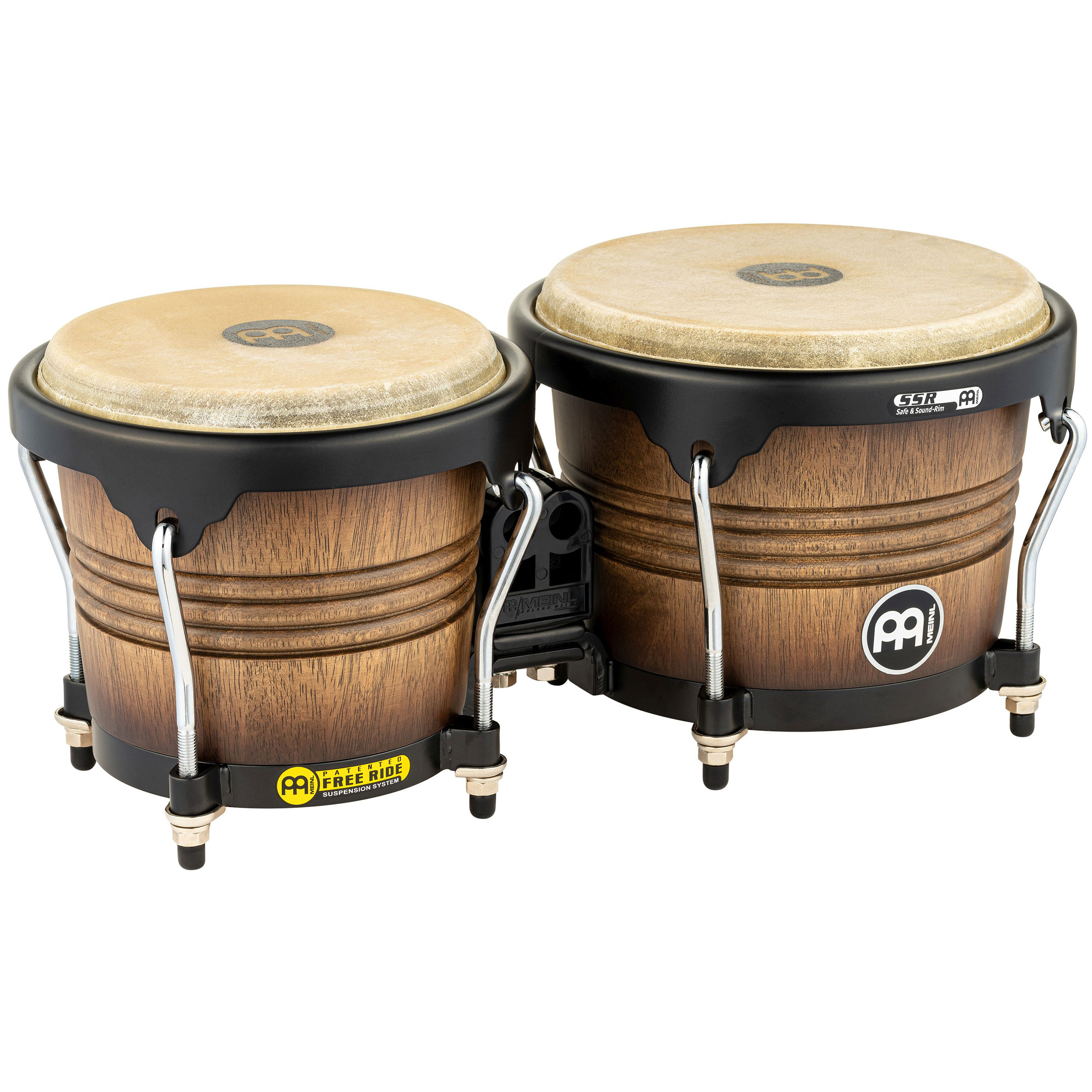 "Meinl 6.75"" & 8"" Free Ride Series Wood Bongos in Antique Tobacco Burst"