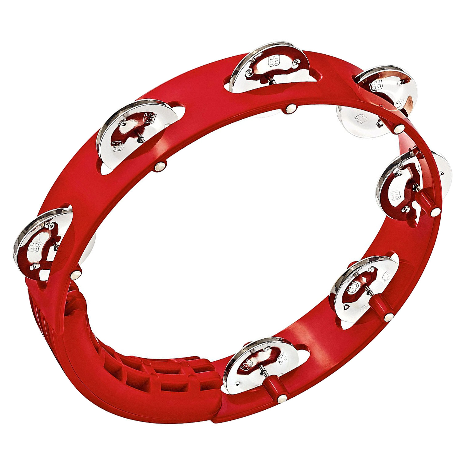 """Meinl 8"""" Red Single-Row Tour Tambourine with Steel Jingles"""