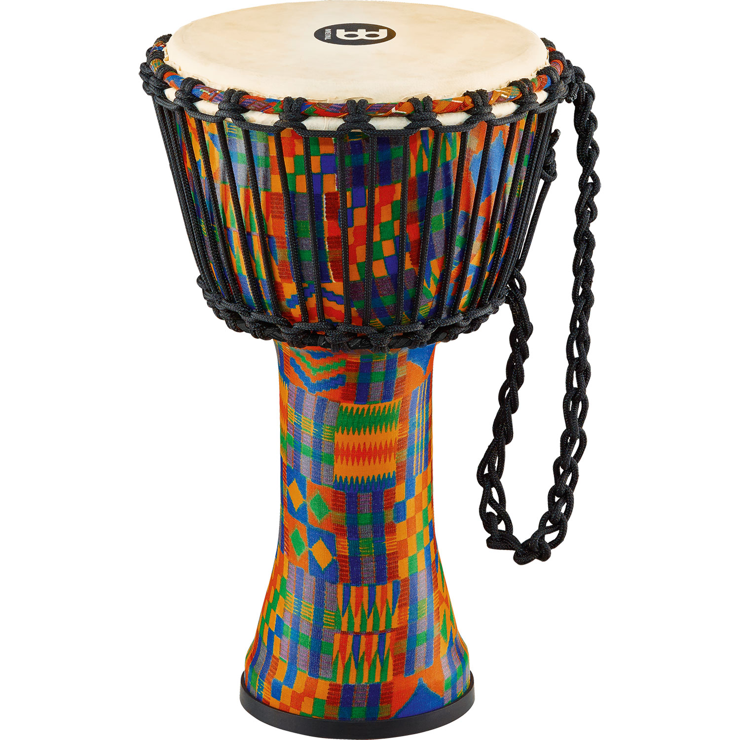 """Meinl 10"""" Rope-Tuned Travel Djembe in Kenyan Quilt with Natural Head"""